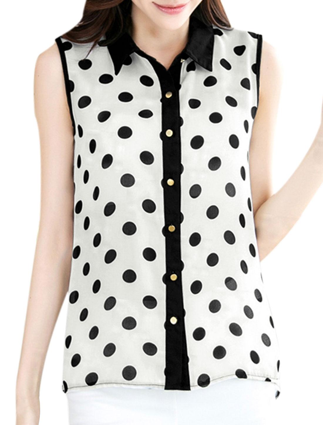 Ladies Soft Point Collar Dots Prints Button Down Chiffon Blouse White M