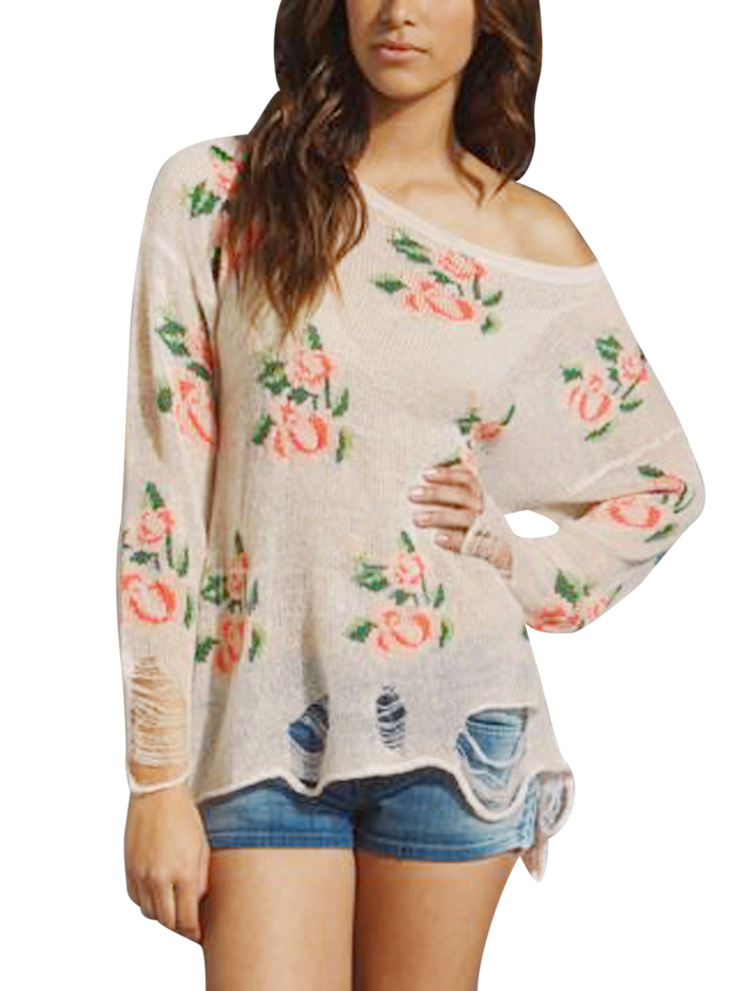 Lady's Floral Pattern Distressed Long Sleeve Loose Tunic Knit Top Pink S