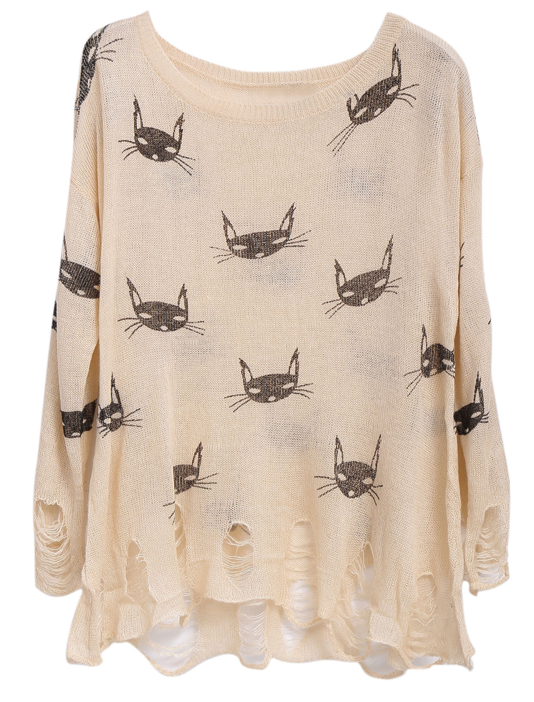 Lady Slipover Cats Prints Destroied Design Loose Knit Top Pale Pink S