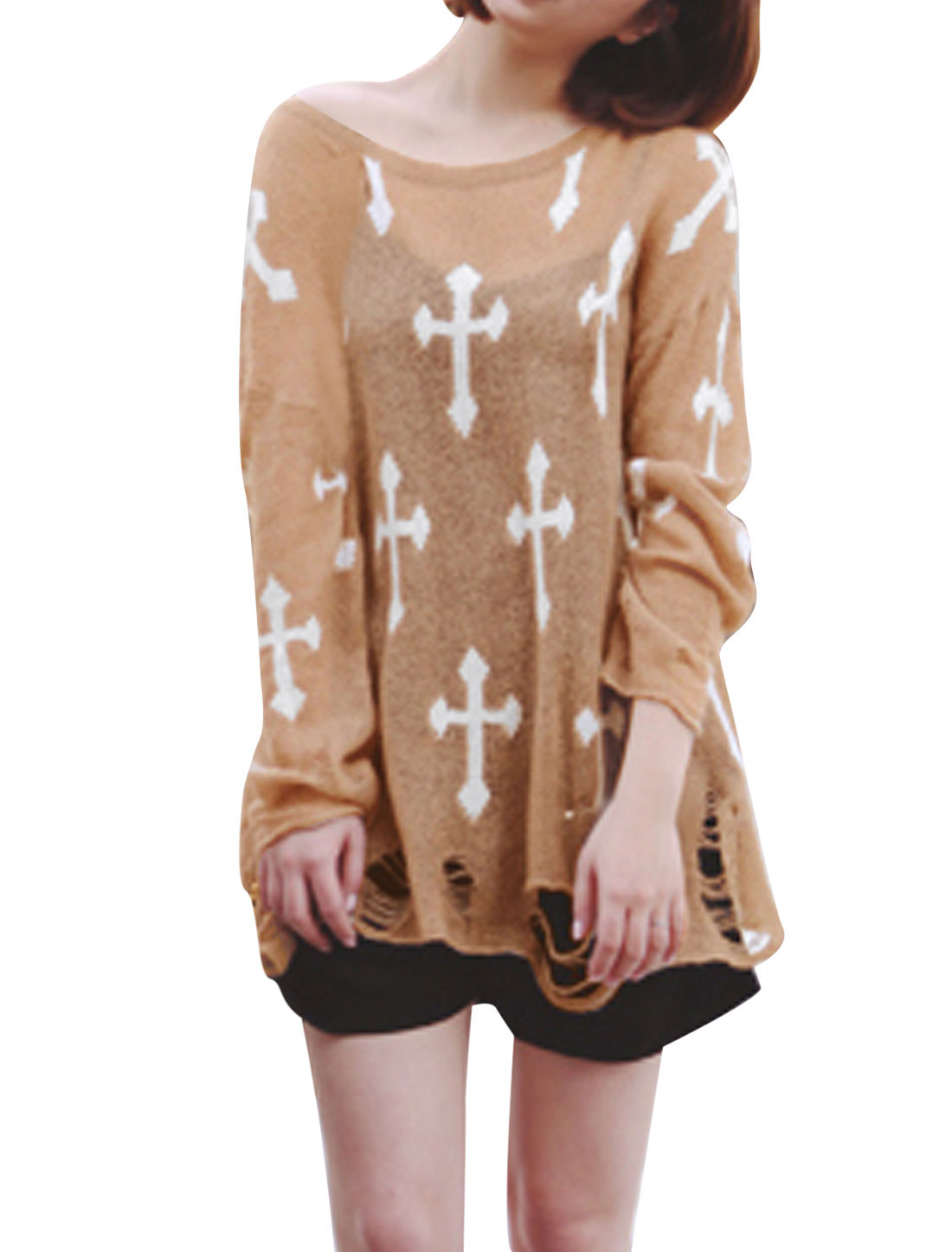 Lady Long Sleeve Cross Prints Destroied Design Loose Knitted Top Camel S