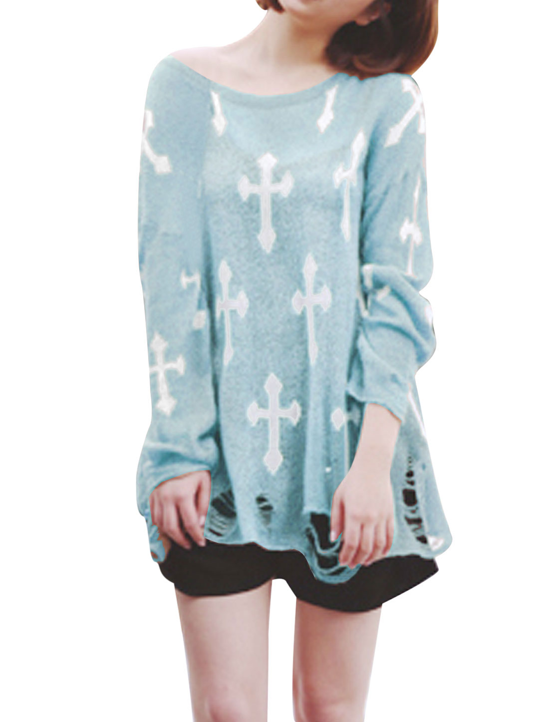 Lady Cross Prints Destroied Style Loose Knitted Top Sky Blue S