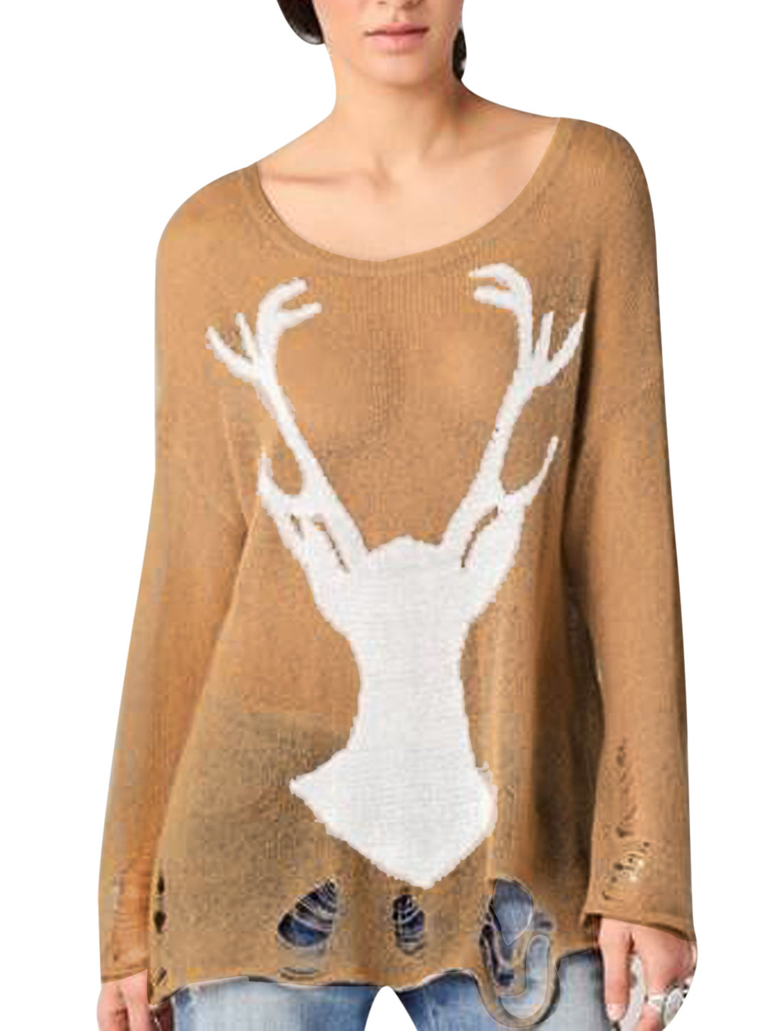 Lady Long Sleeve Deer Prints Destroied Design Loose Knitted Top Camel S