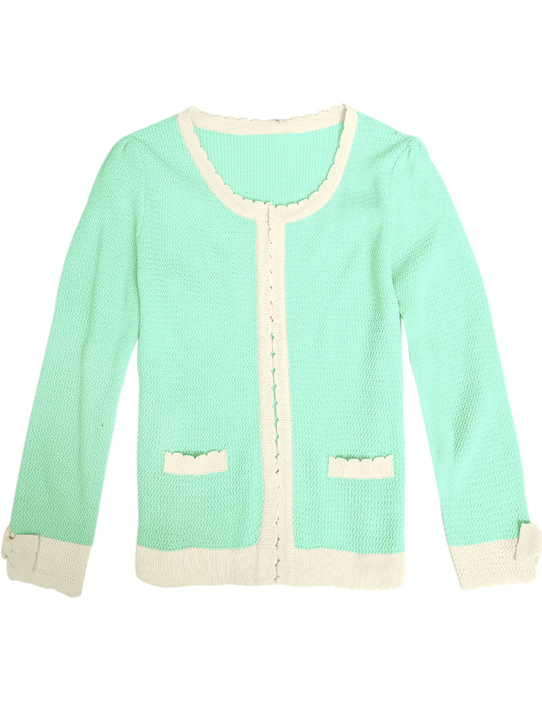 Lady Long Sleeve Bowknot Decor Cuffs Elegant Cardigan Sweater Mint XS