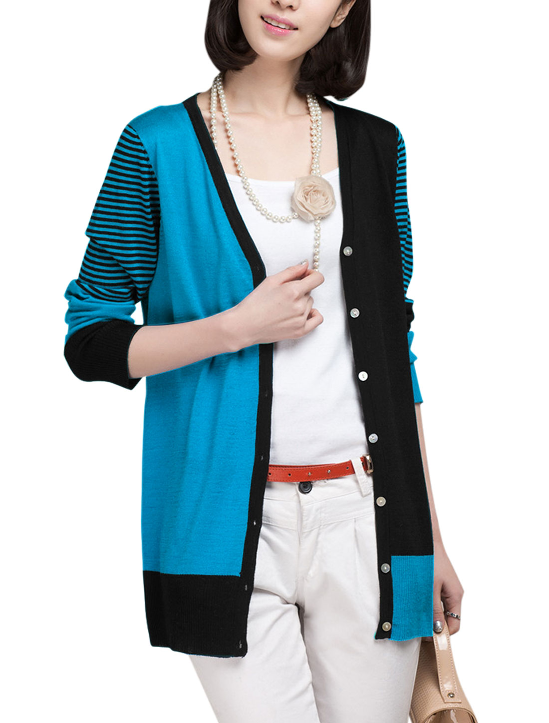 Lady's Long Sleeve Single Breasted Stripes Color Block Casual Cardigan Black Blue XS