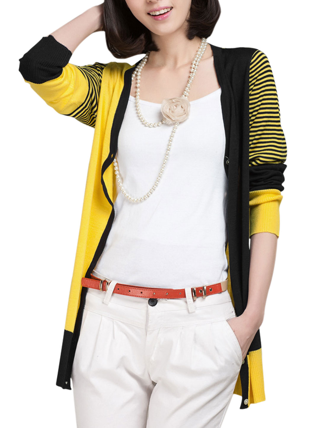 Lady's Long Sleeve Bar Striped Cntrast Color Casual Cardigan Black Yellow XS