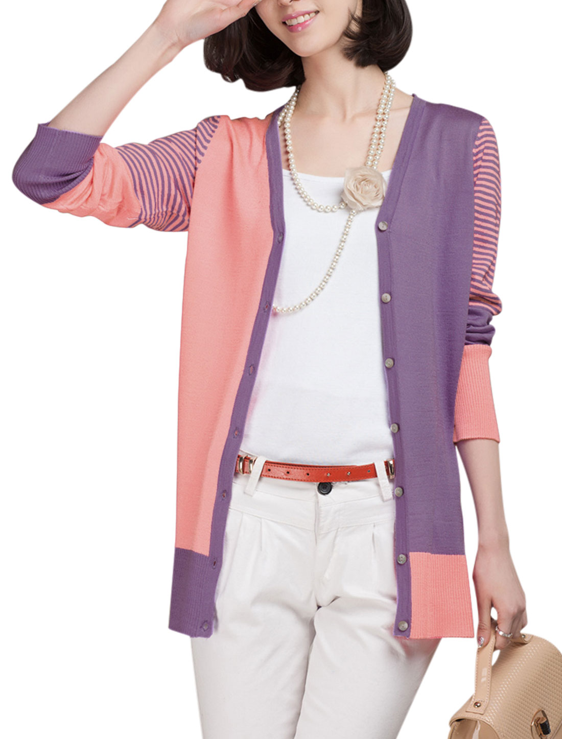 Lady's V Neck Stripes Color Block Long Sleeve Cardigan Purple Pink XS
