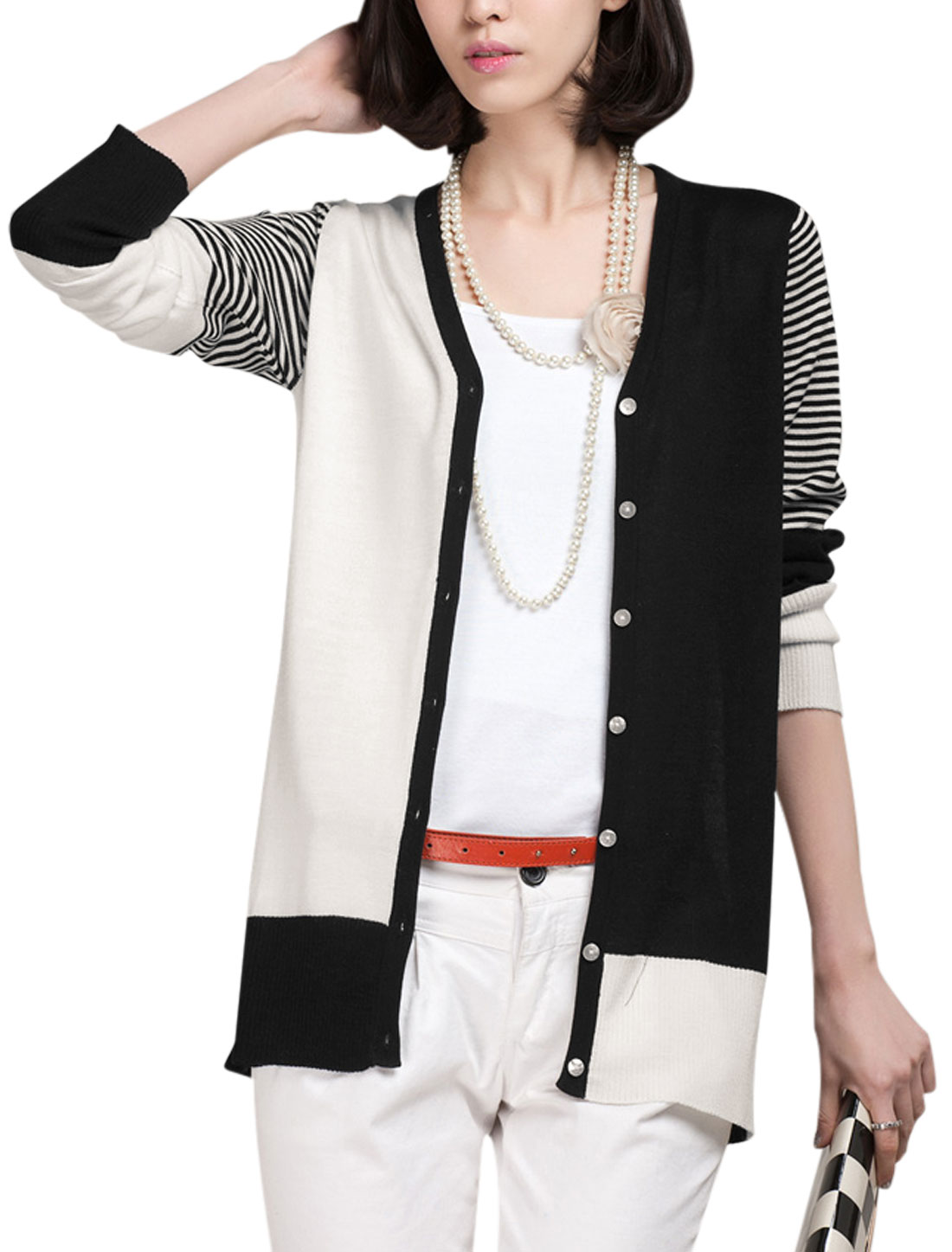 Lady's Korean Style Contrast Color Ribbed Casual Cardigan Black White XS