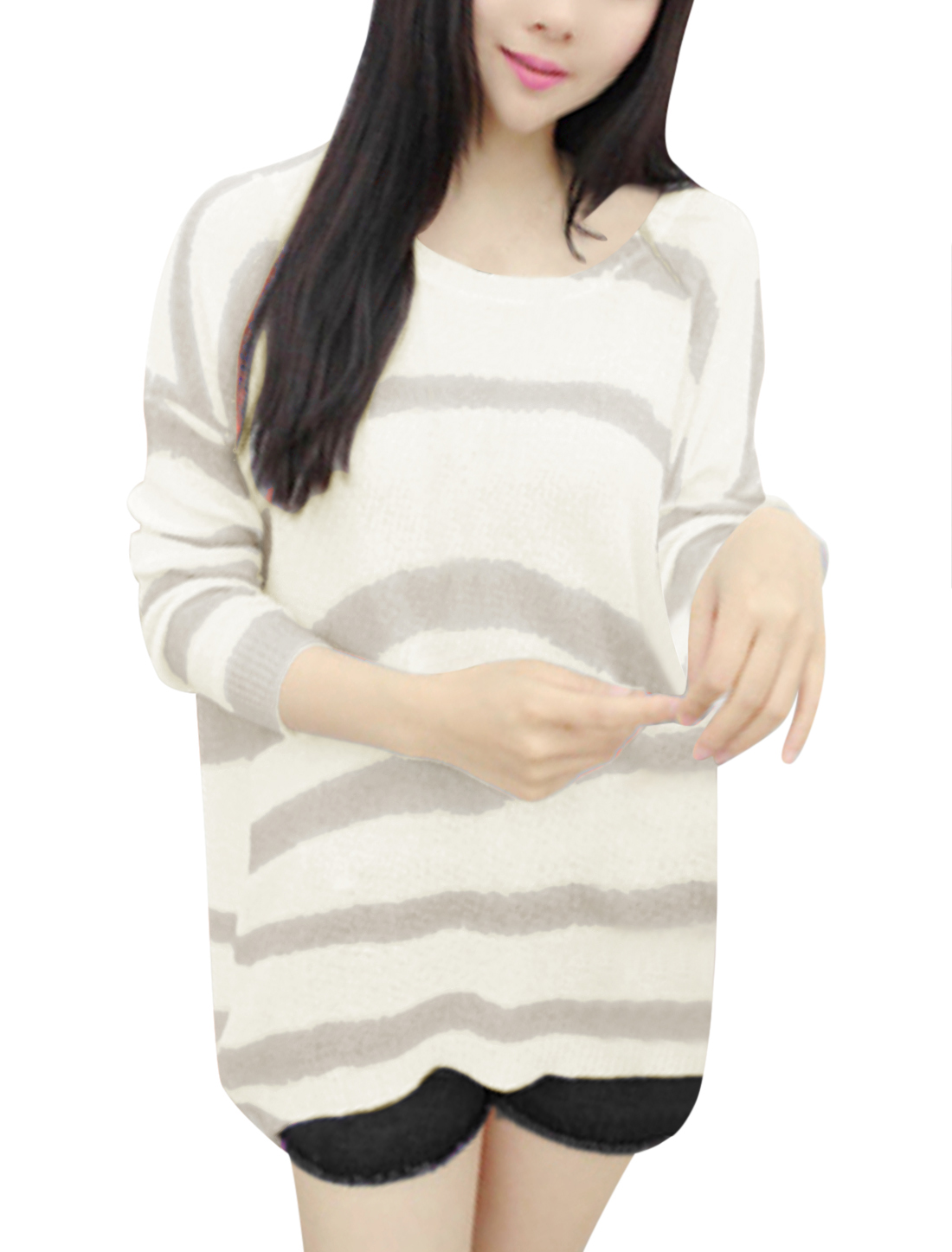 Ladies Long Dolman Sleeve See Through Stripes Loose Rib Knit Top Gray Beige XS
