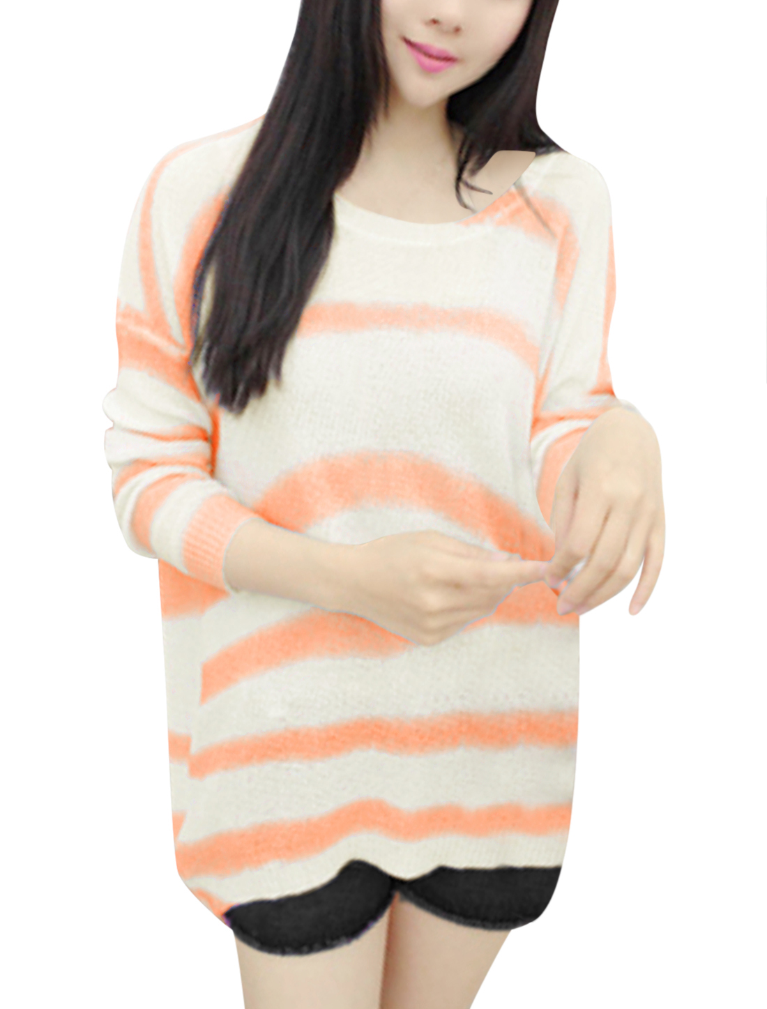 Lady Long Dolman Sleeve See Through Curve Hem Rib Knit Top Light Orange Beige XS