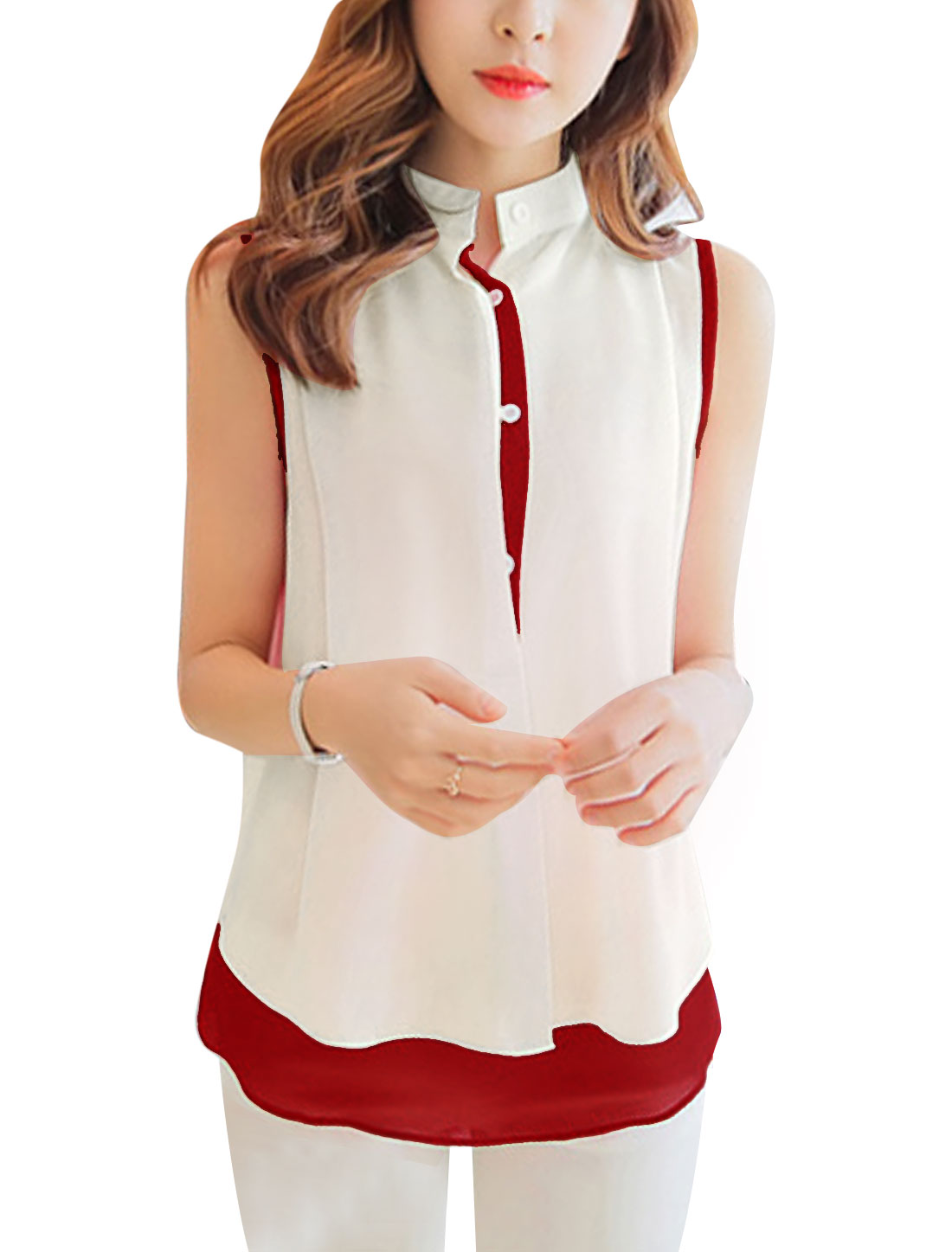 Ladies See Through Chiffon Tank Top w Stand Collar Chiffon Shirt Beige Burgundy S