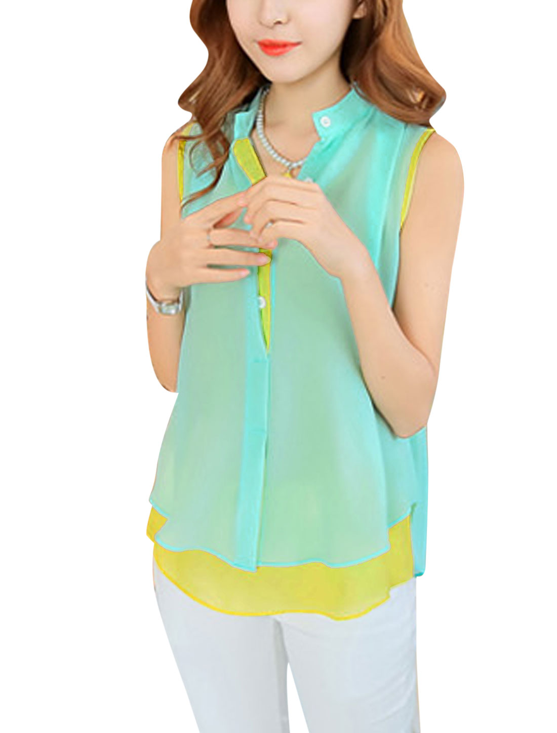 Ladies See Through Tank Top w Piped Detail Chiffon Shirt Light Yellow Mint S