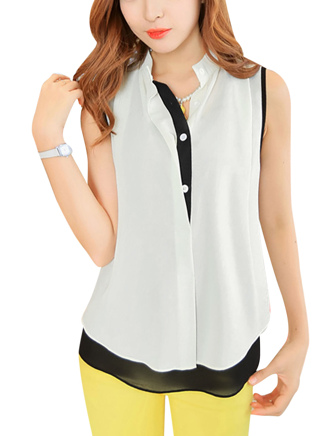 Lady See Through Tank Top w Gathered Detail Chiffon Shirt Black White S