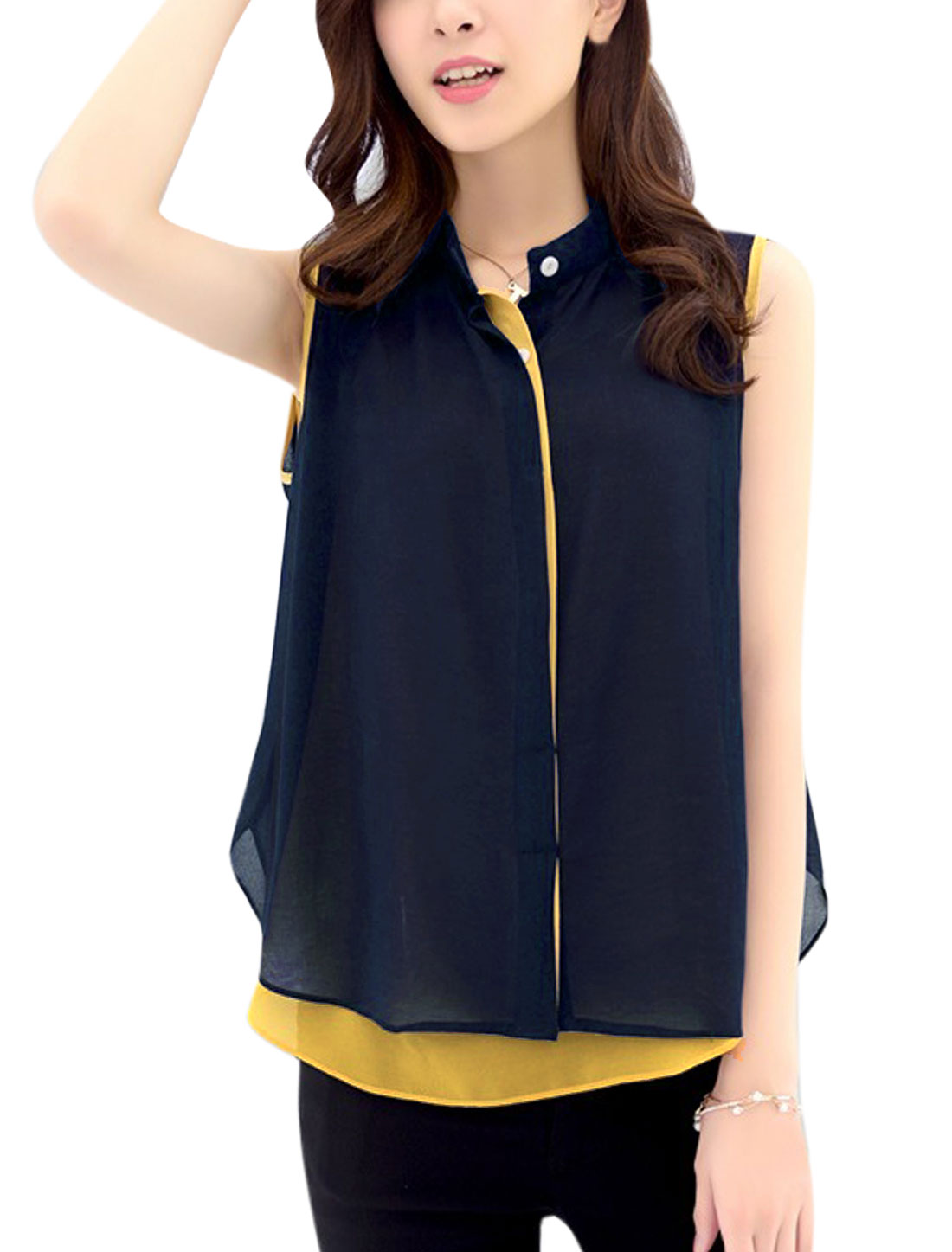 Lady See Through Tank Top w Sleeveless Chiffon Shirt Navy Blue Light Yellow S