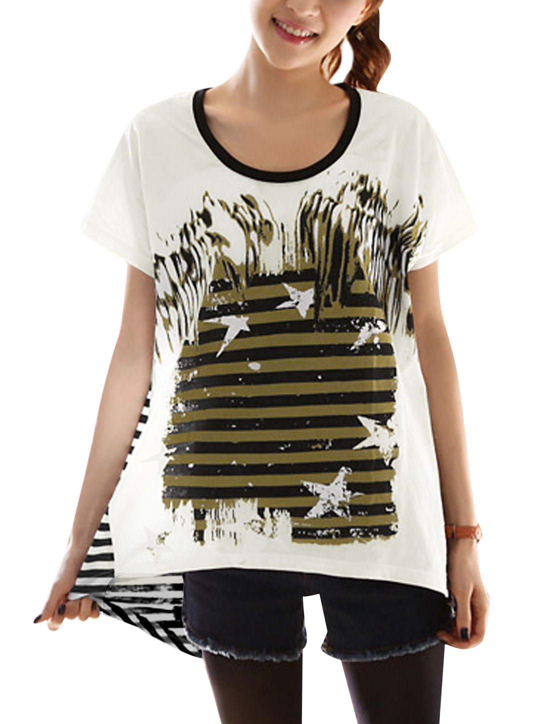 Lady's Short Sleeve Stripes Stars Prints Loose Casual Tunic T-shirt White S