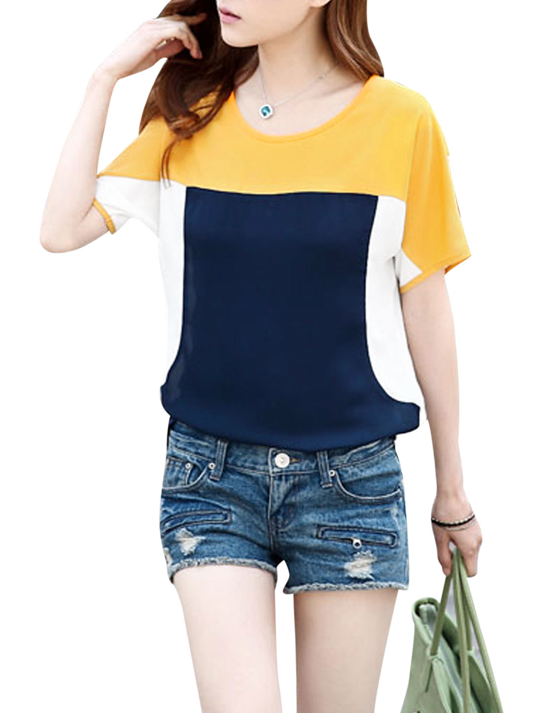 Lady's Round Neck Color Block Short Sleeve Unlined Chiffon Top Navy Blue S