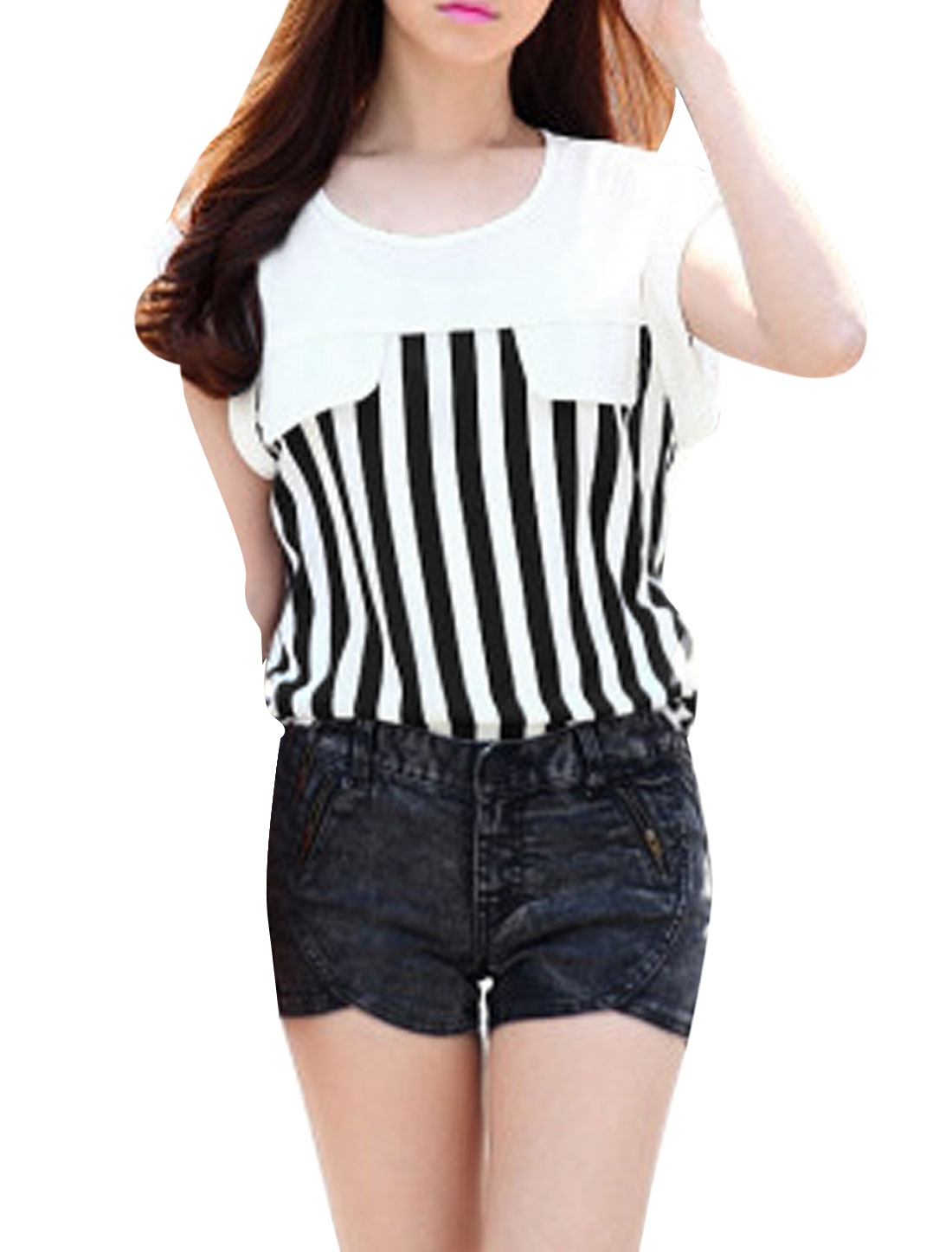 Lady's Sleeveless Vertical Stripes Round Hem Casual Chiffon Top Black S