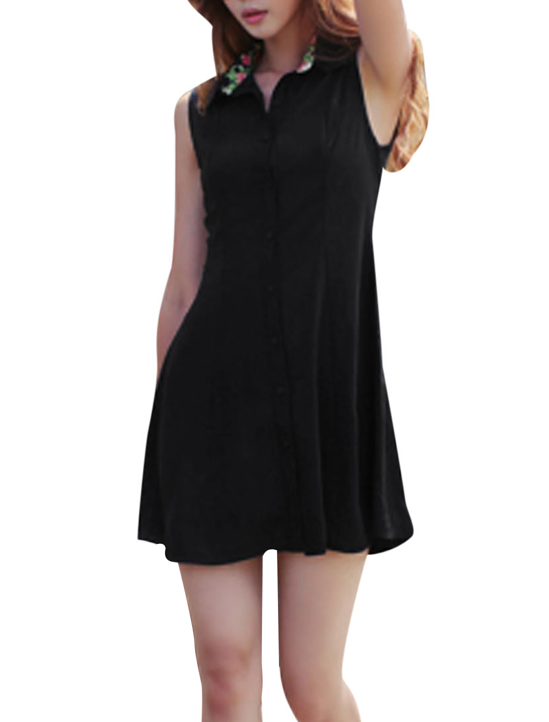 Ladies Point Collar Button-tab Epaulets Chiffon Shirt Dress Black S