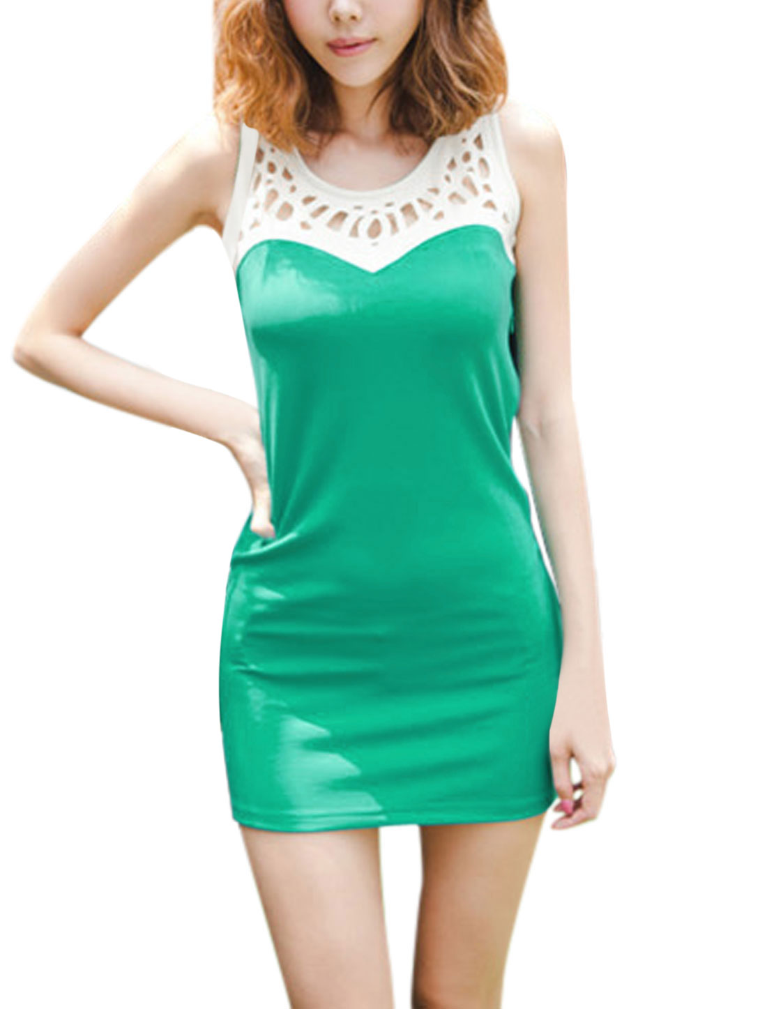 Ladies Summer Hollow Out York Panel Design Tank Dress Green M