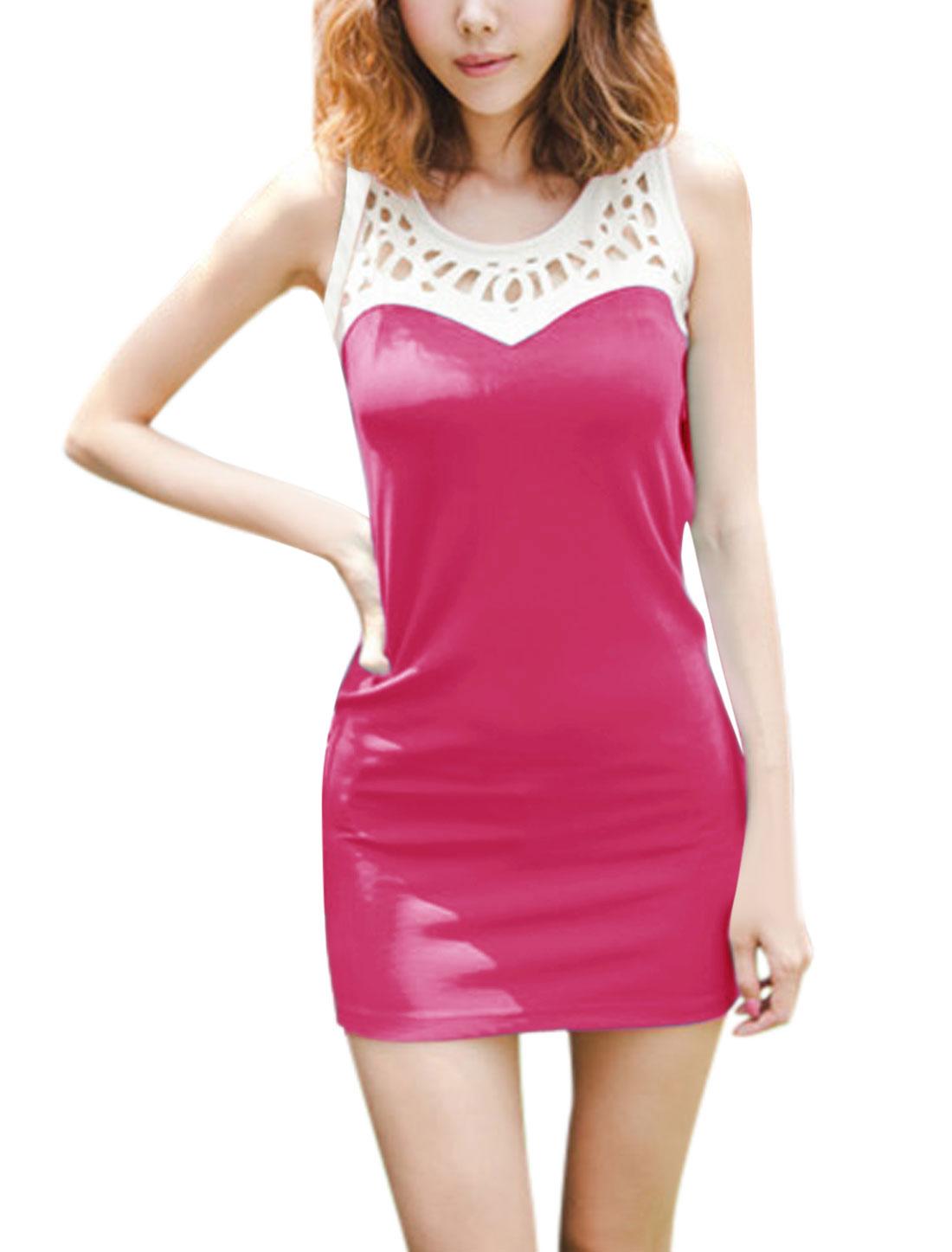 Ladies Summer Hollow Out York Sleeveless Tank Dress Fuchsia M