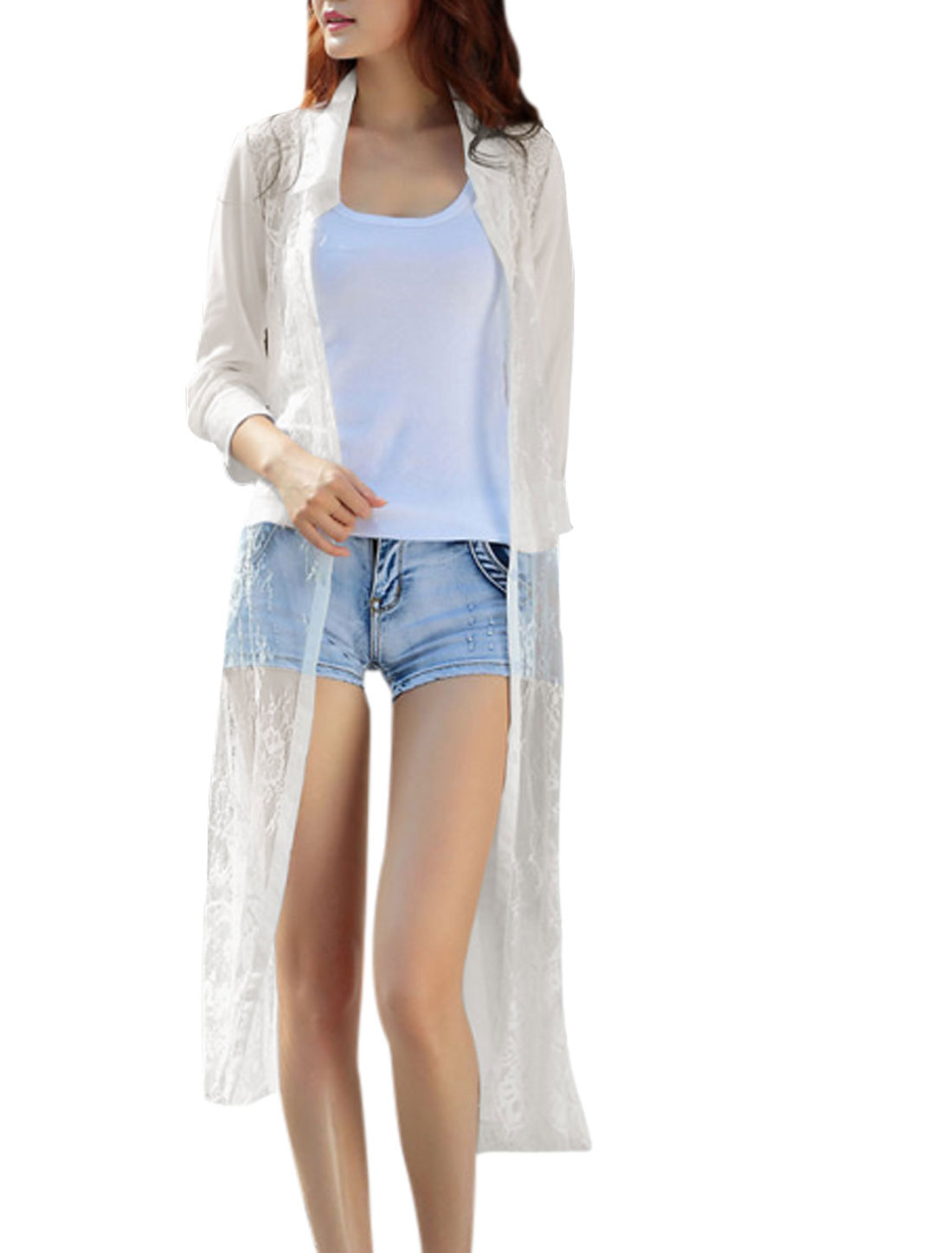 Ladies 3/4 Sleeve See Through Point Collar Long Chiffon Shirt White S