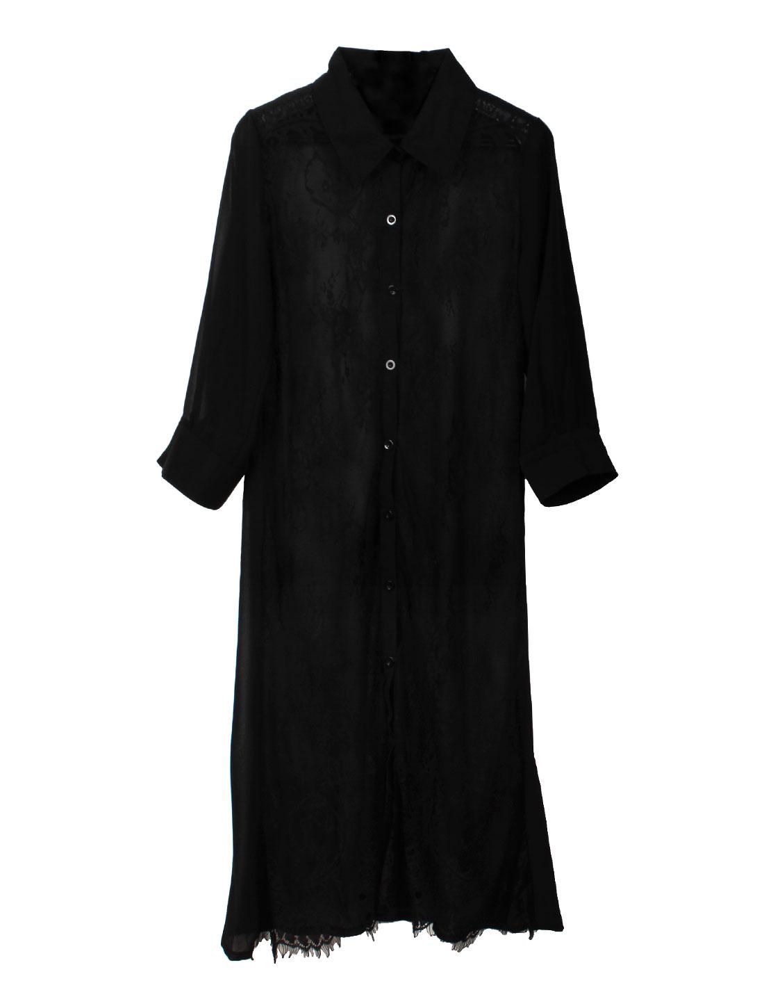Ladies See Through Lace Eyelash Hem Long Chiffon Shirt Black S
