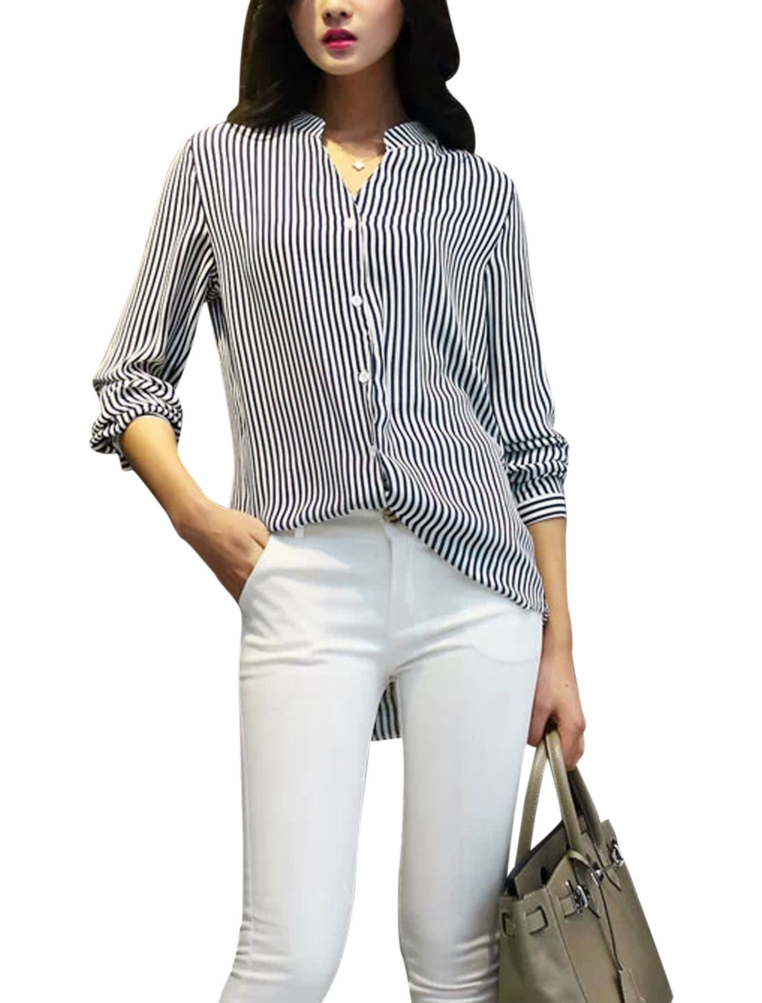 Ladies Mandarin Collar V Neckline Elegant Shirt Navy Blue White S
