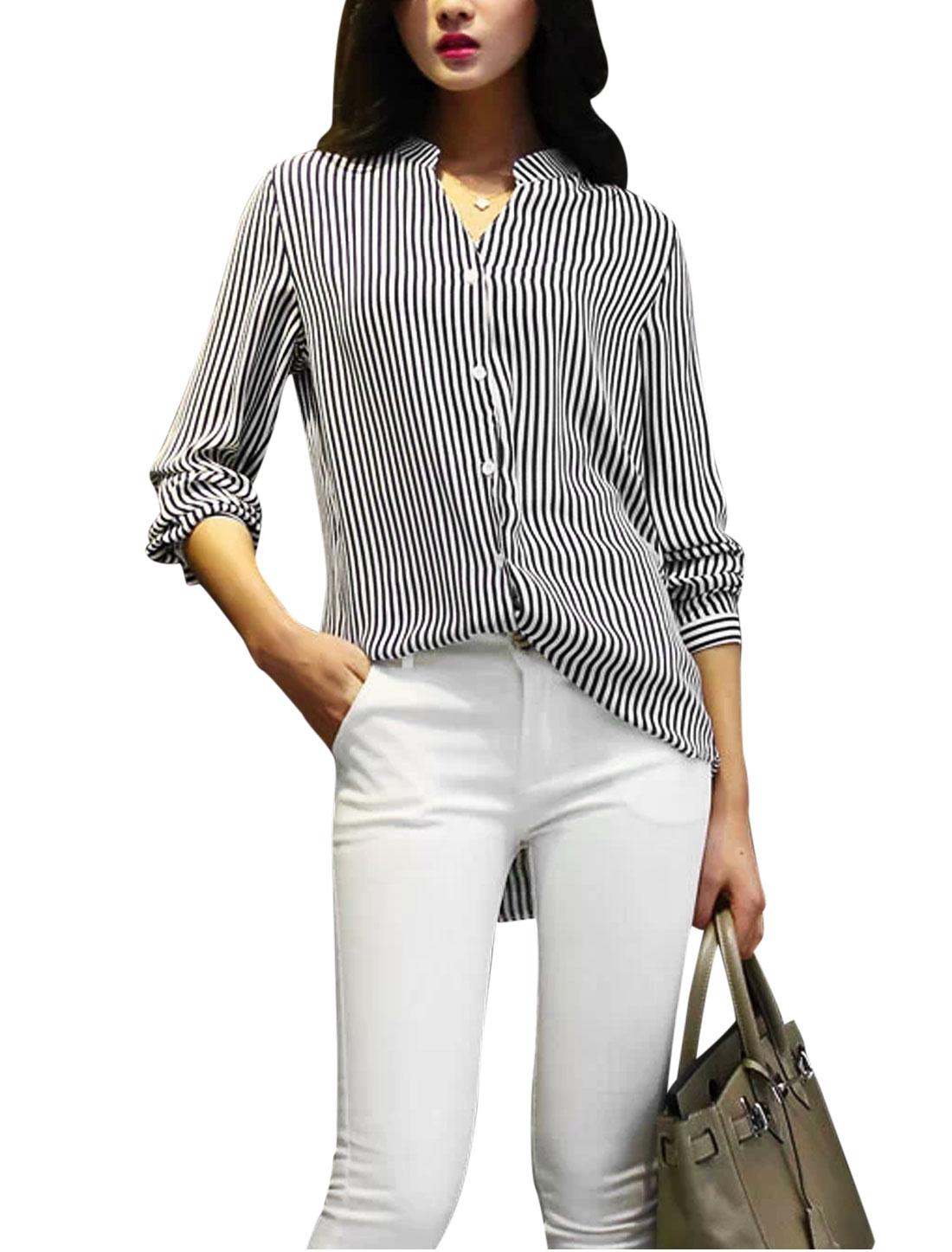 Ladies Mandarin Collar Vertical Stripes Pattern Elegant Shirt Black White S