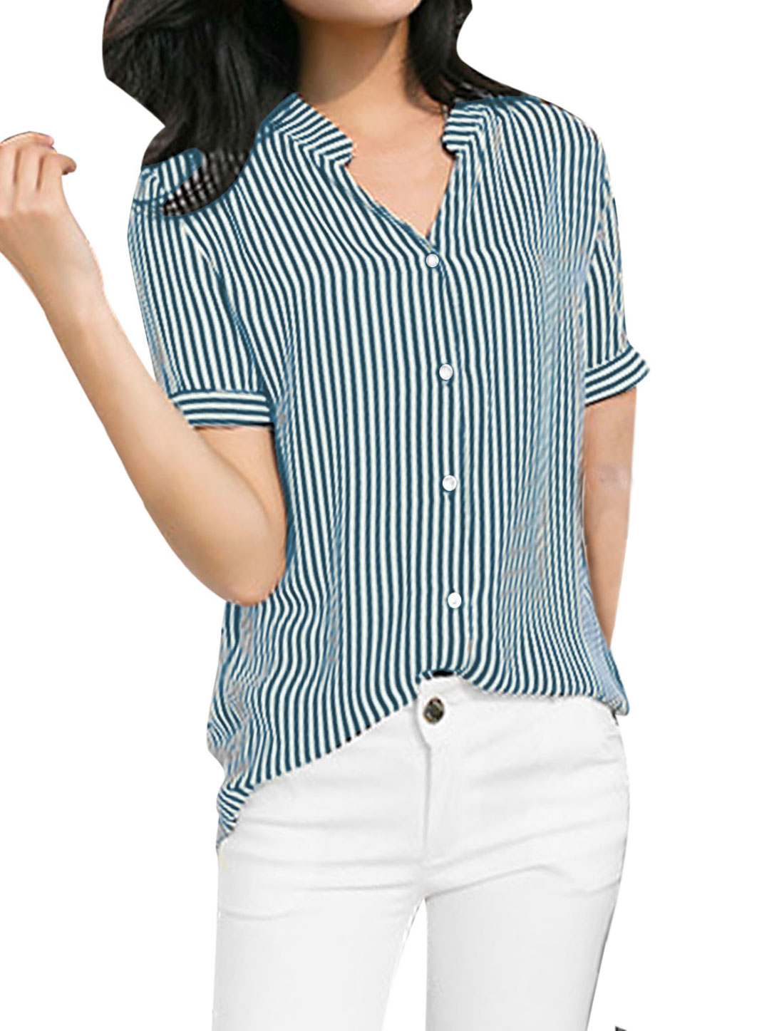 Ladies Short Sleeve Vertical Stripes Irregular Hem Casual Shirt S