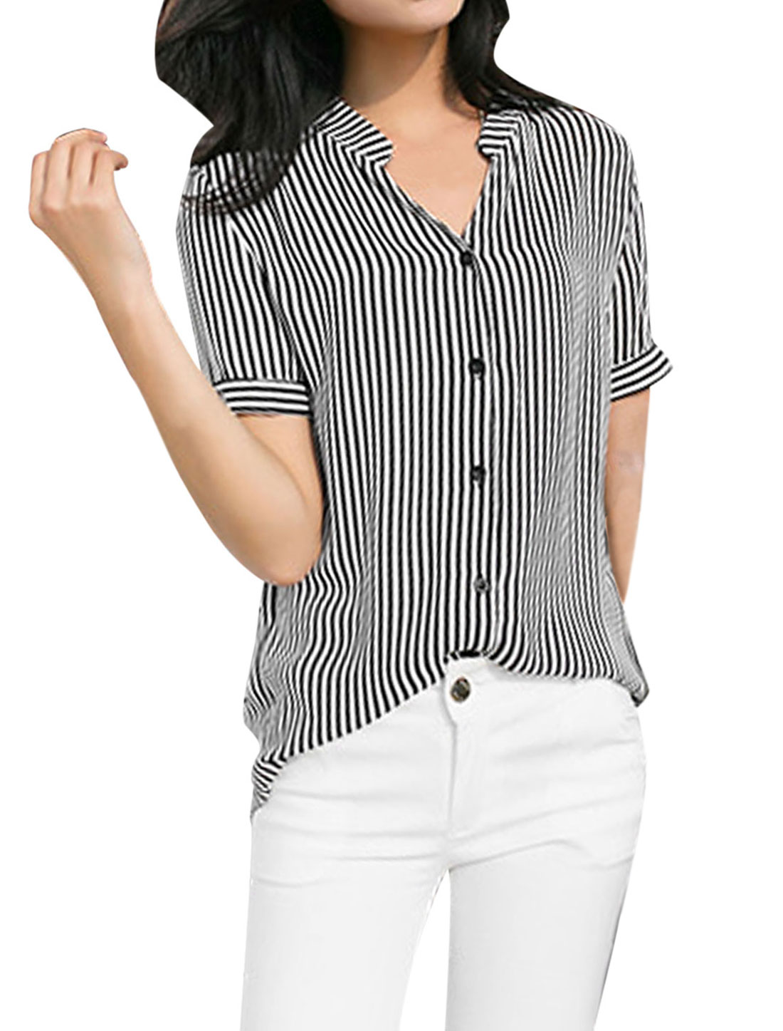 Ladies Short Sleeve Vertical Stripes Irregular Hem Shirt Black White S