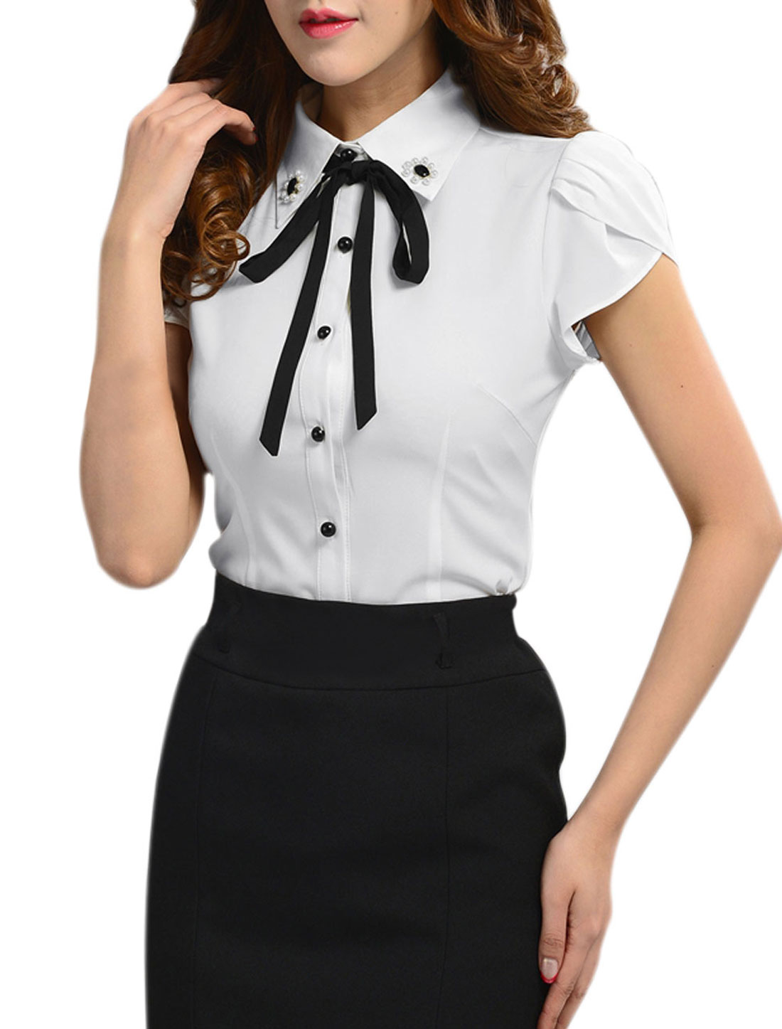 Lady Petal Sleeve Plastic Pearls Decor Shirt w Self Tie Strap White M