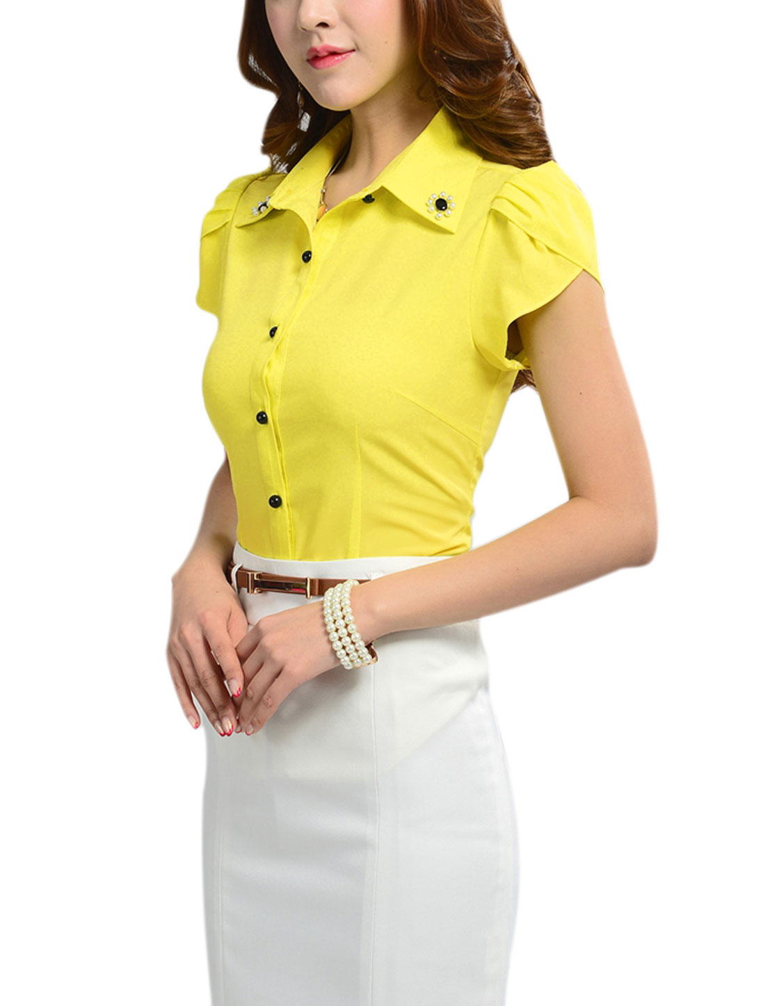 Lady Button Front Fake Pearls Decor Shirt w Self Tie Strap Yellow M