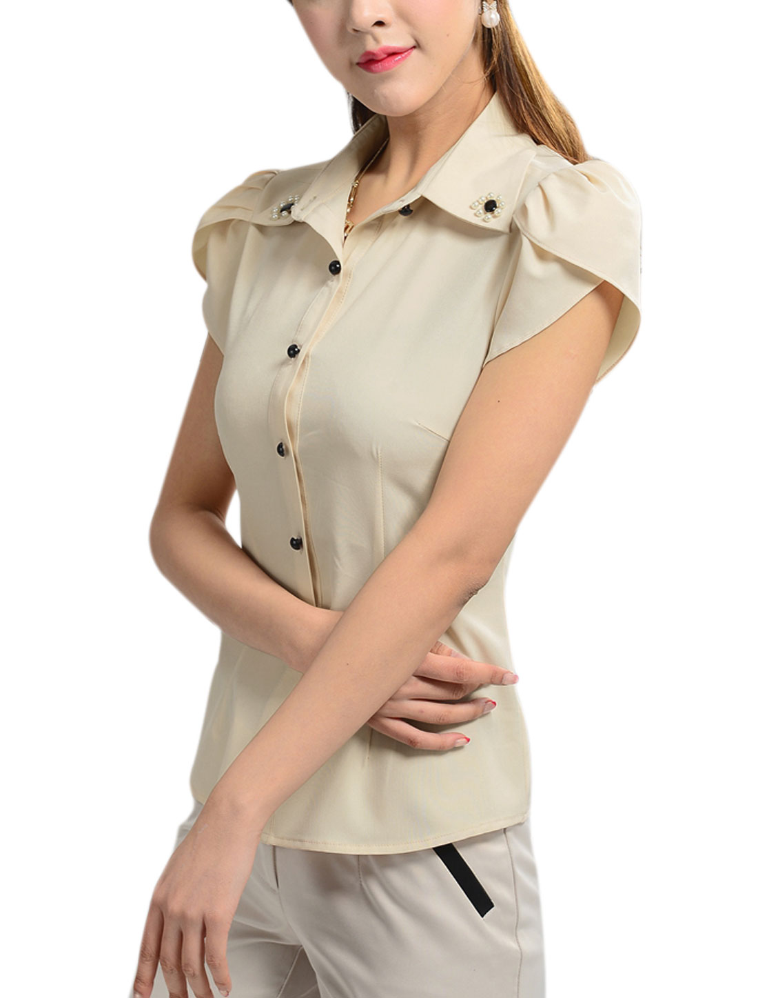 Lady Summer Petal Sleeve Fake Pearls Decor Shirt w Self Tie Strap Beige M