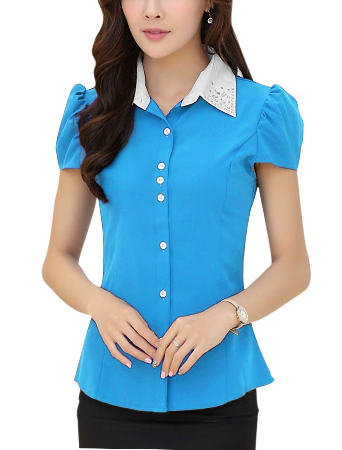 Lady Button-Front Puff Sleeve Plastic Crystal Decor Shirt Sea Blue M