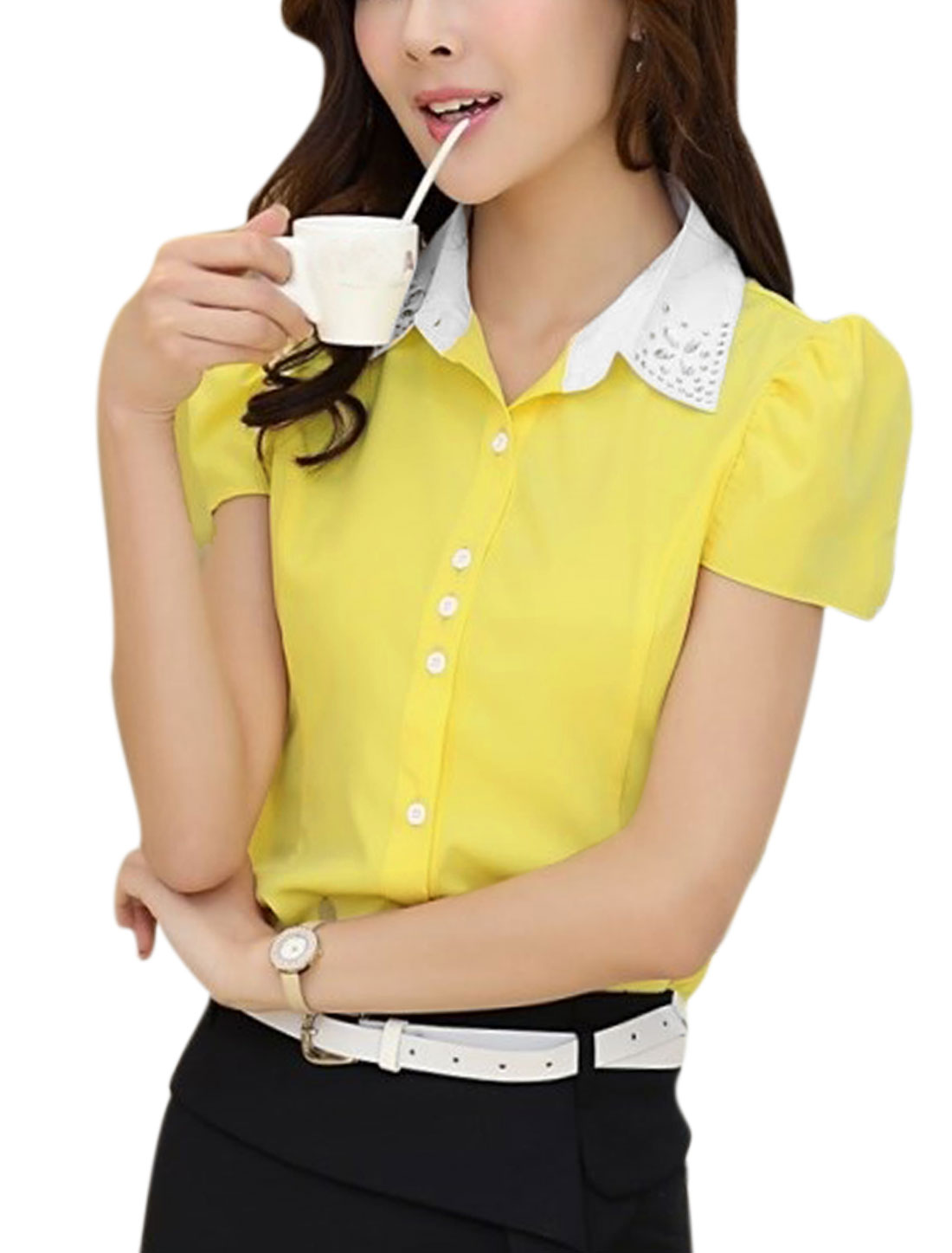 Lady Summer Puff Sleeve Plastic Crystal Decor Shirt Yellow M