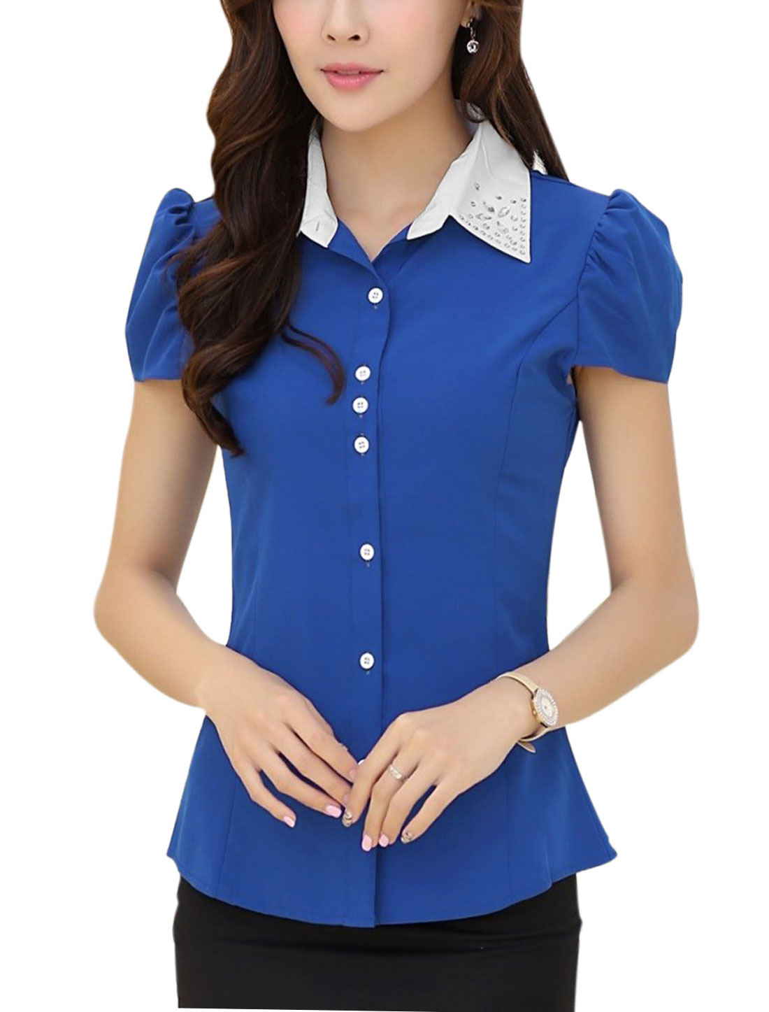 Lady Elegant Puff Sleeve Plastic Crystal Decor Shirt Royal Blue M