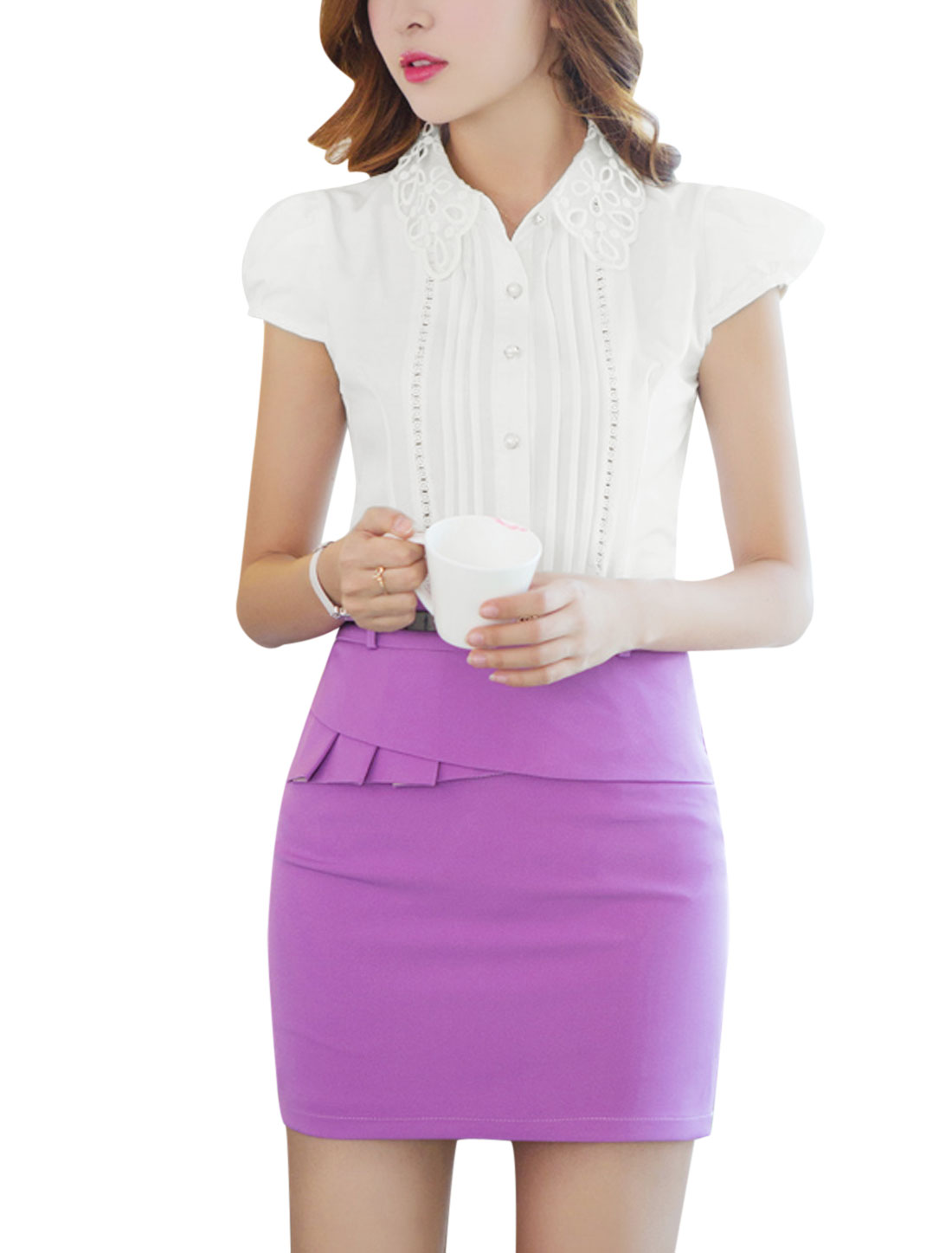 Women Elegant Organza Point Collar Pleated Detail Front Shirt White L