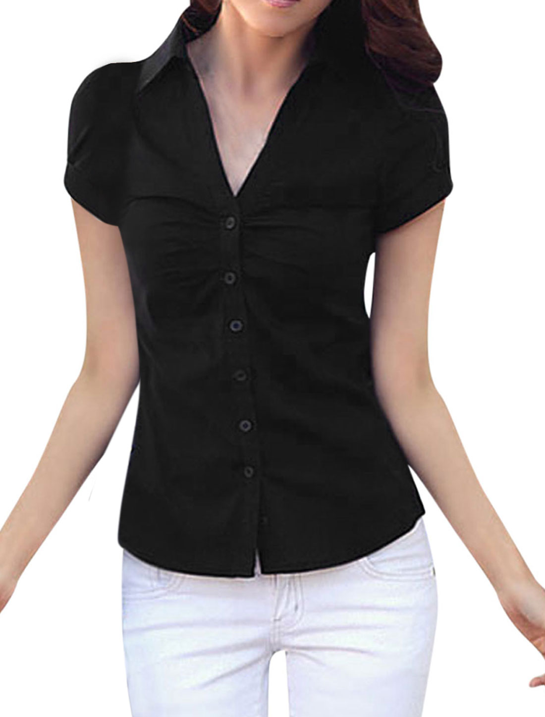 Ladies Short Sleeve Cuffed Ruched Detail Casual Shirt Black L