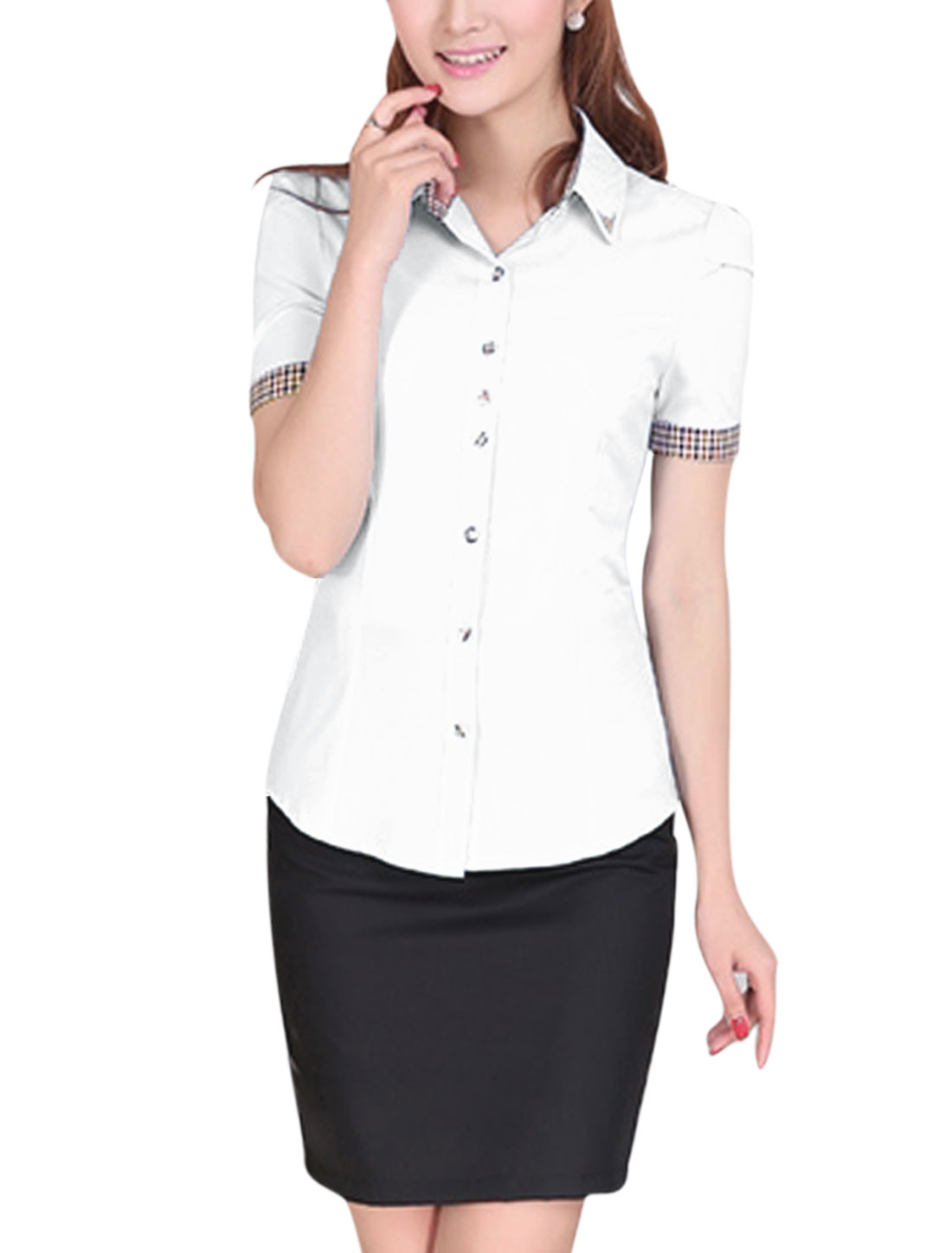 Lady Short Sleeve Single Breasted Plaids Detail Rivet Decor Shirt White M