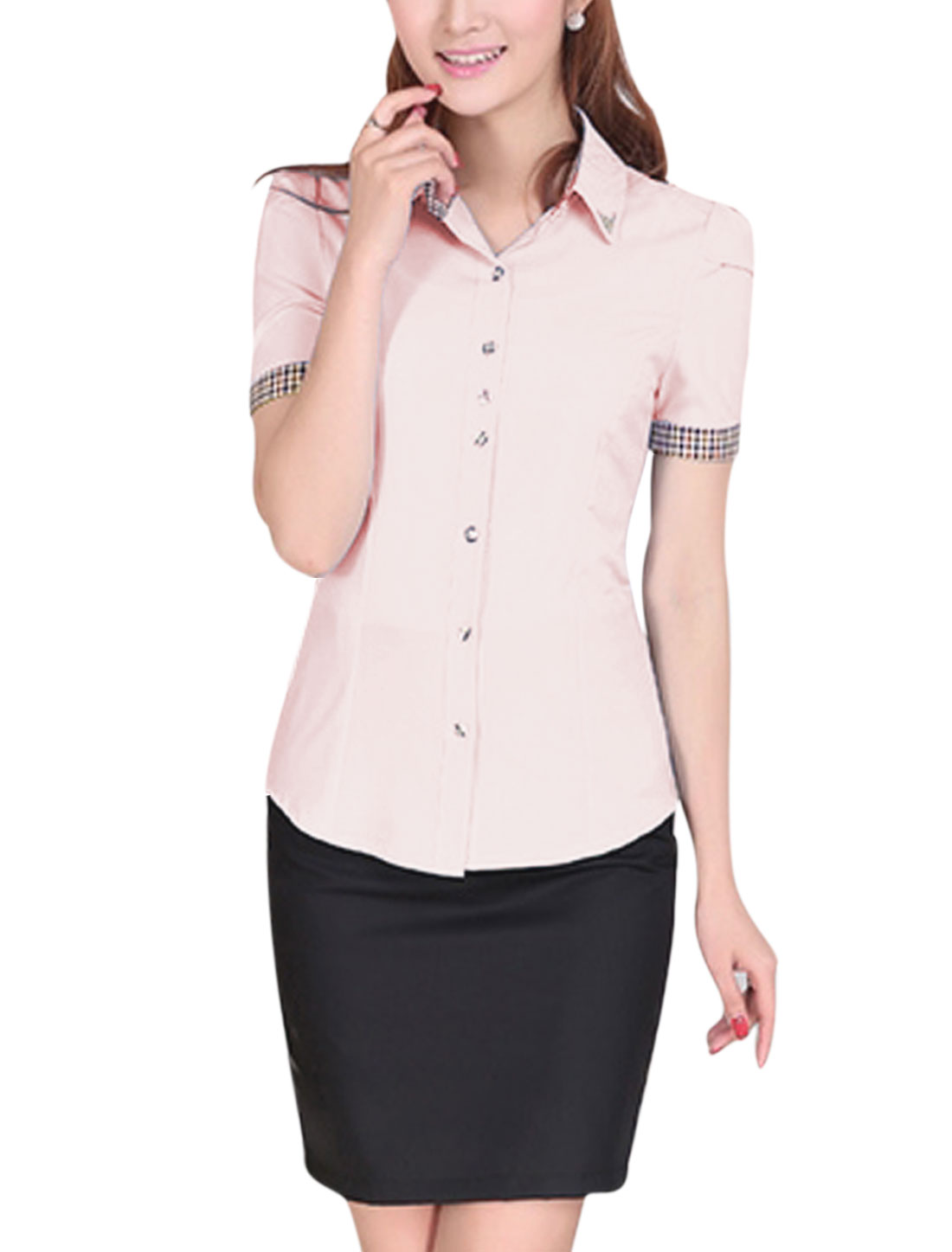 Lady Elegant Short Sleeve Plaids Detail Rivet Decor Shirt Pink M