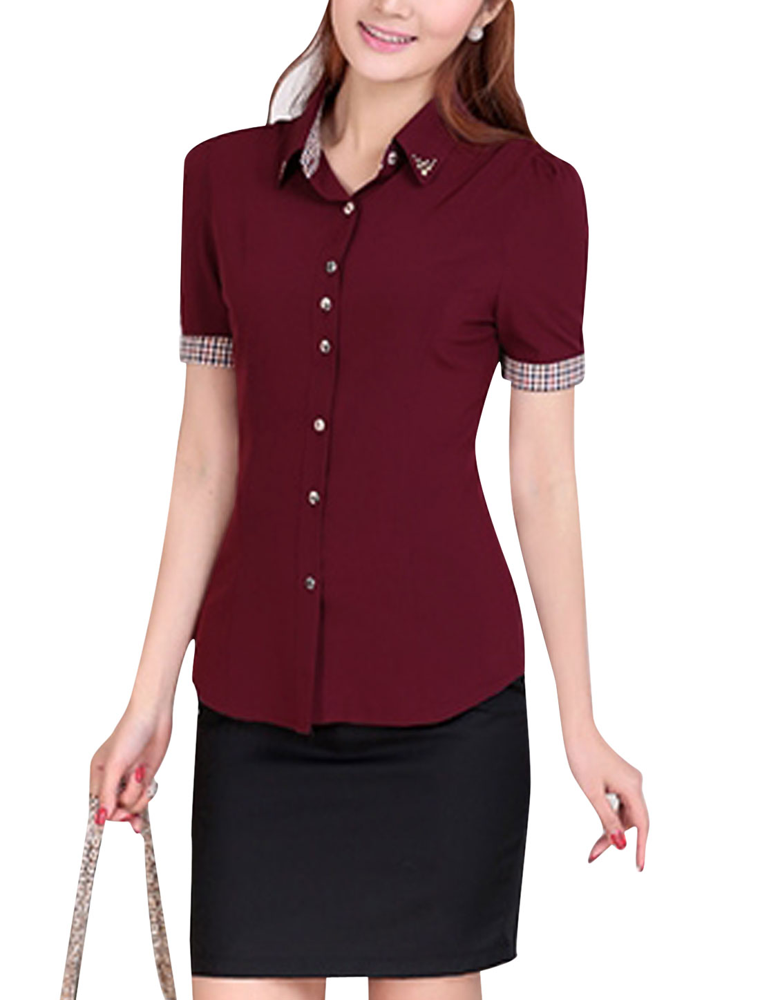 Lady Short Sleeve Single Breasted Rivet Decor Shirt Burgundy M