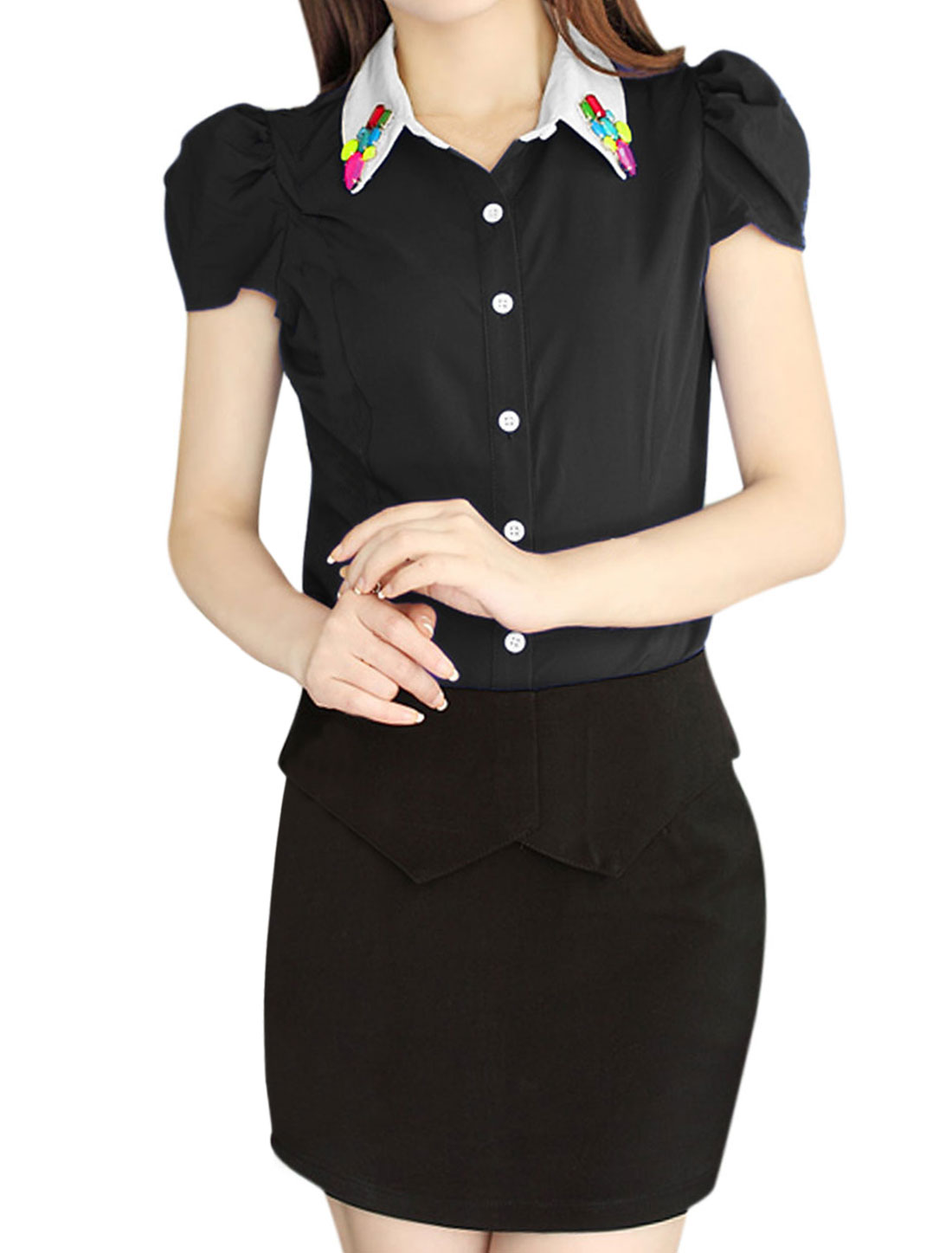 Lady Puff Sleeve Single Breasted Rhinestone Decor Shirt Black L