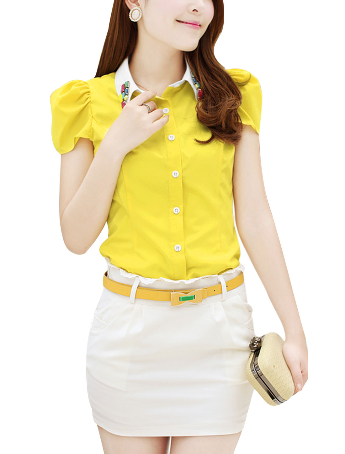Lady Single Breasted Rhinestone Decor Casual Shirt Yellow L