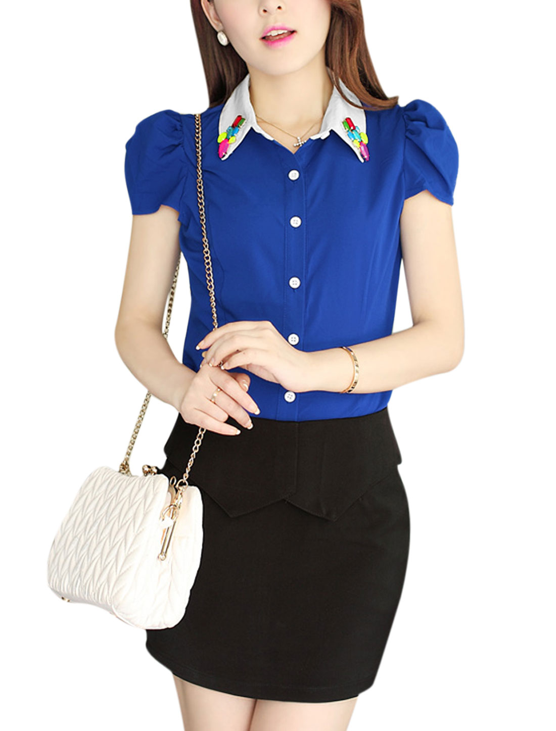Lady Button Front Rhinestone Decor Casual Shirt Royal Blue L