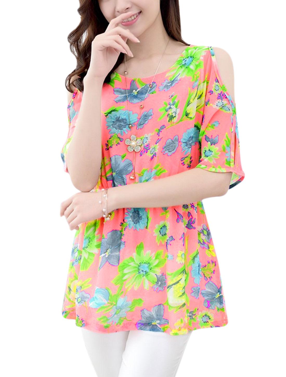 Women Floral Prints Cut Out Shoulder Tunic Top Fluorescent Pink M