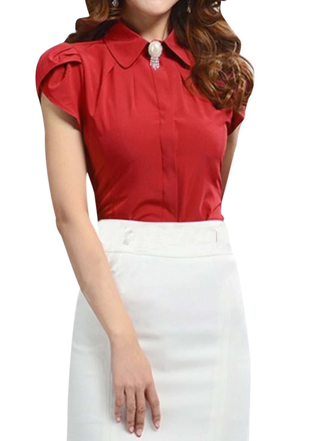 Ladies Elegant Point Collar Round Hem Tulip Sleeve Shirt Red M