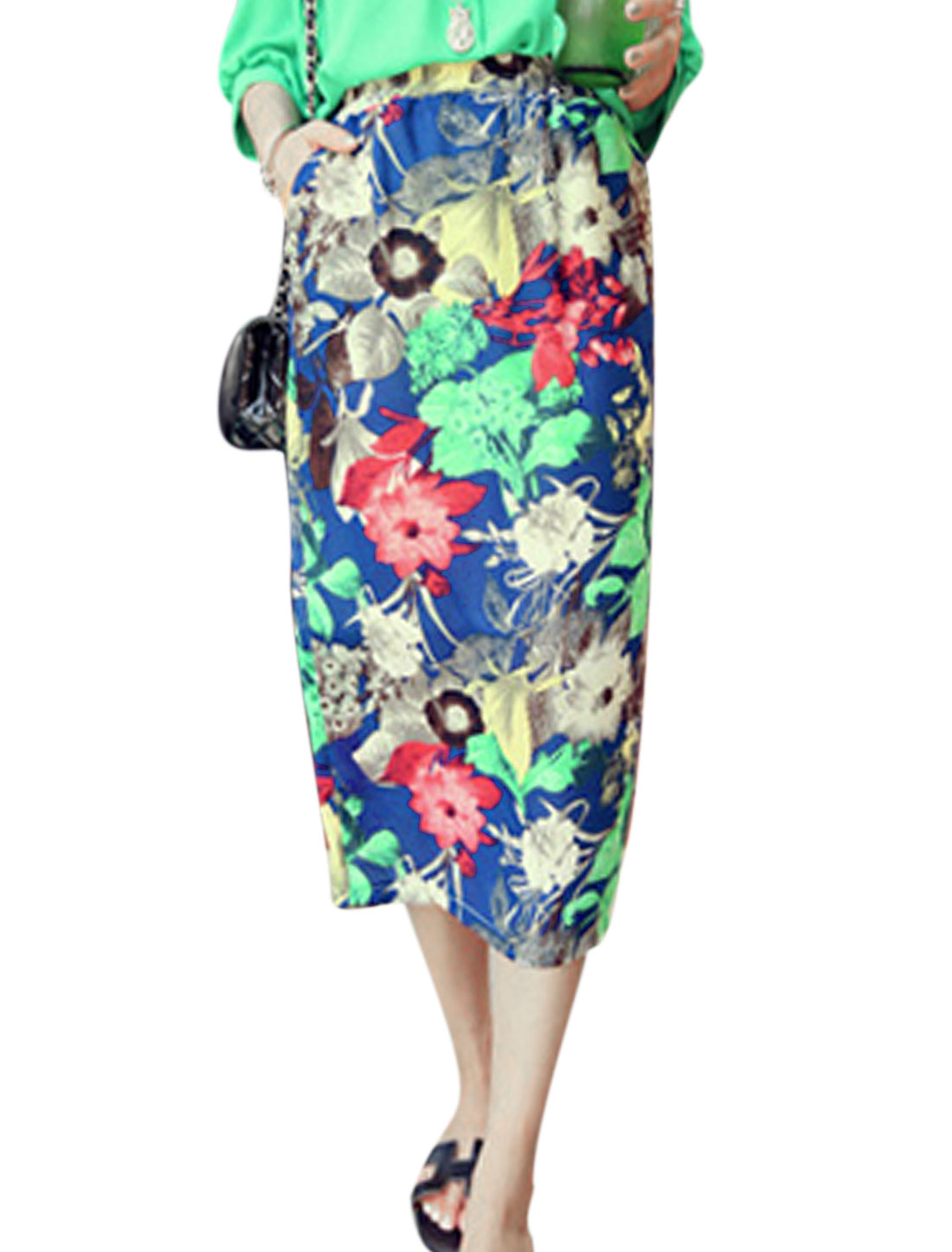 Lady Elastic Waist Floral Prints Fully Lined Split Back Straight Skirt Multicolor XS
