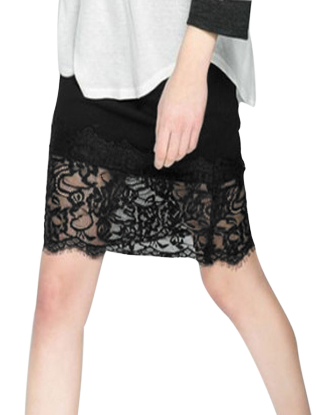 Lady Elastic Waist Concealed Zipper Side Lace Patchwork Pencil Skirt Black S