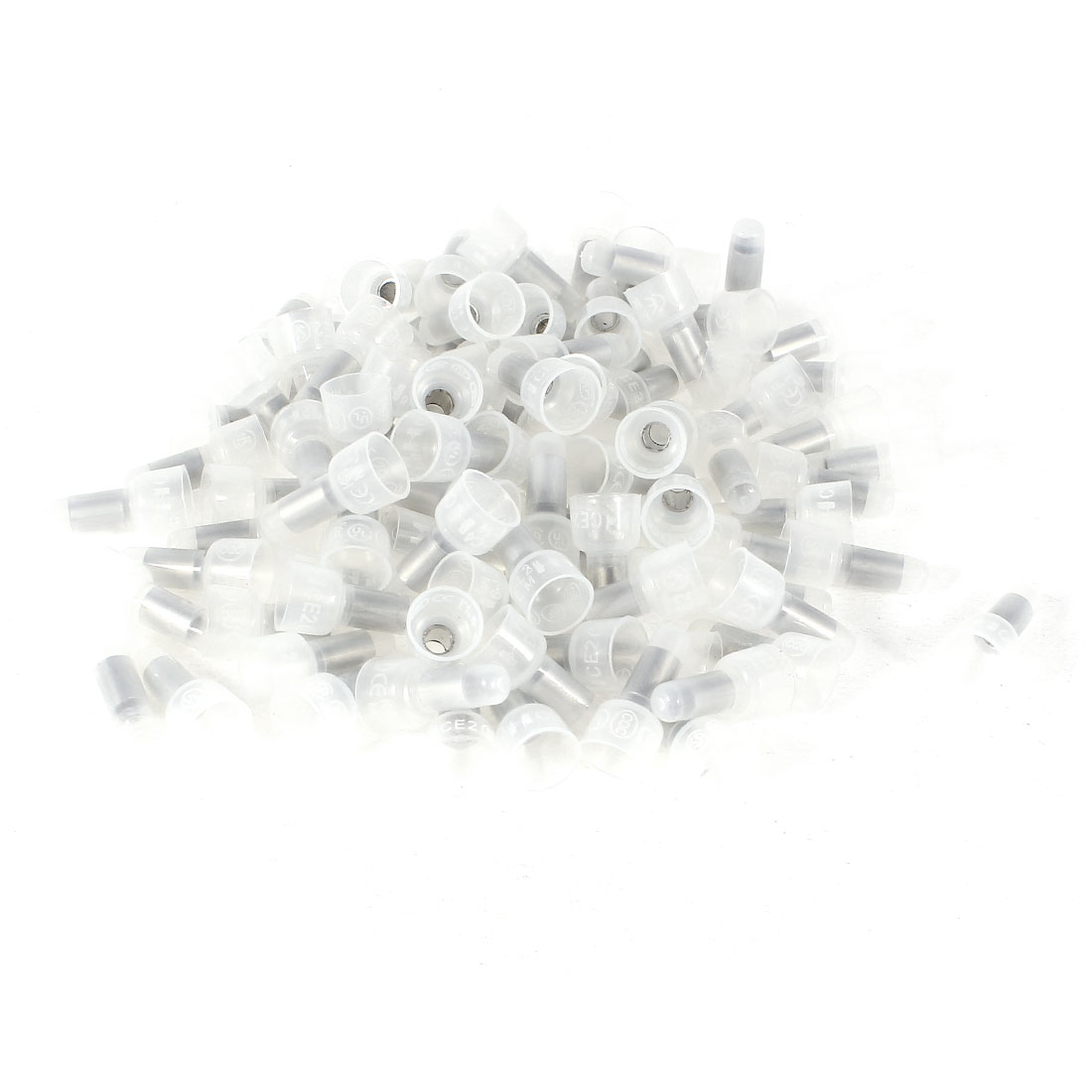 100 Pcs 4mm Tin Plated Copper Tube White Plastic Closed End Wire Connectors