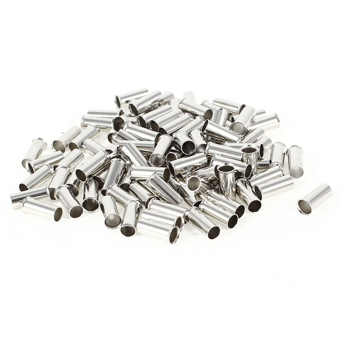100 Pieces Silver Tone EN4009 Copper A.W.G 12 8mmx4mm Non-Insulated Wire Ferrule