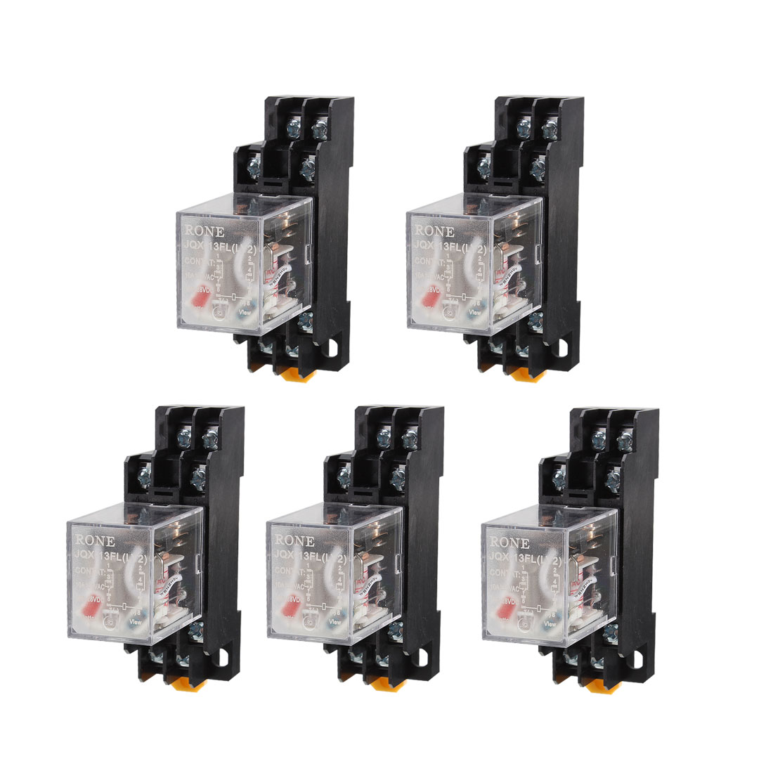 5 Pcs AC 220V-240V DPDT 8 Pins Red LED General Purpose Power Relay w Socket Base